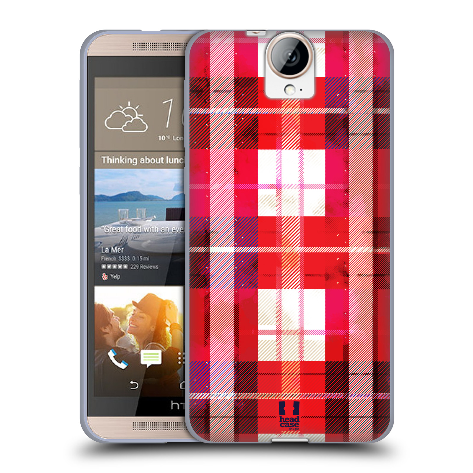 Silikonové pouzdro na mobil HTC One E9+(Plus) HEAD CASE FLANEL RED (Silikonový kryt či obal na mobilní telefon HTC One E9+)