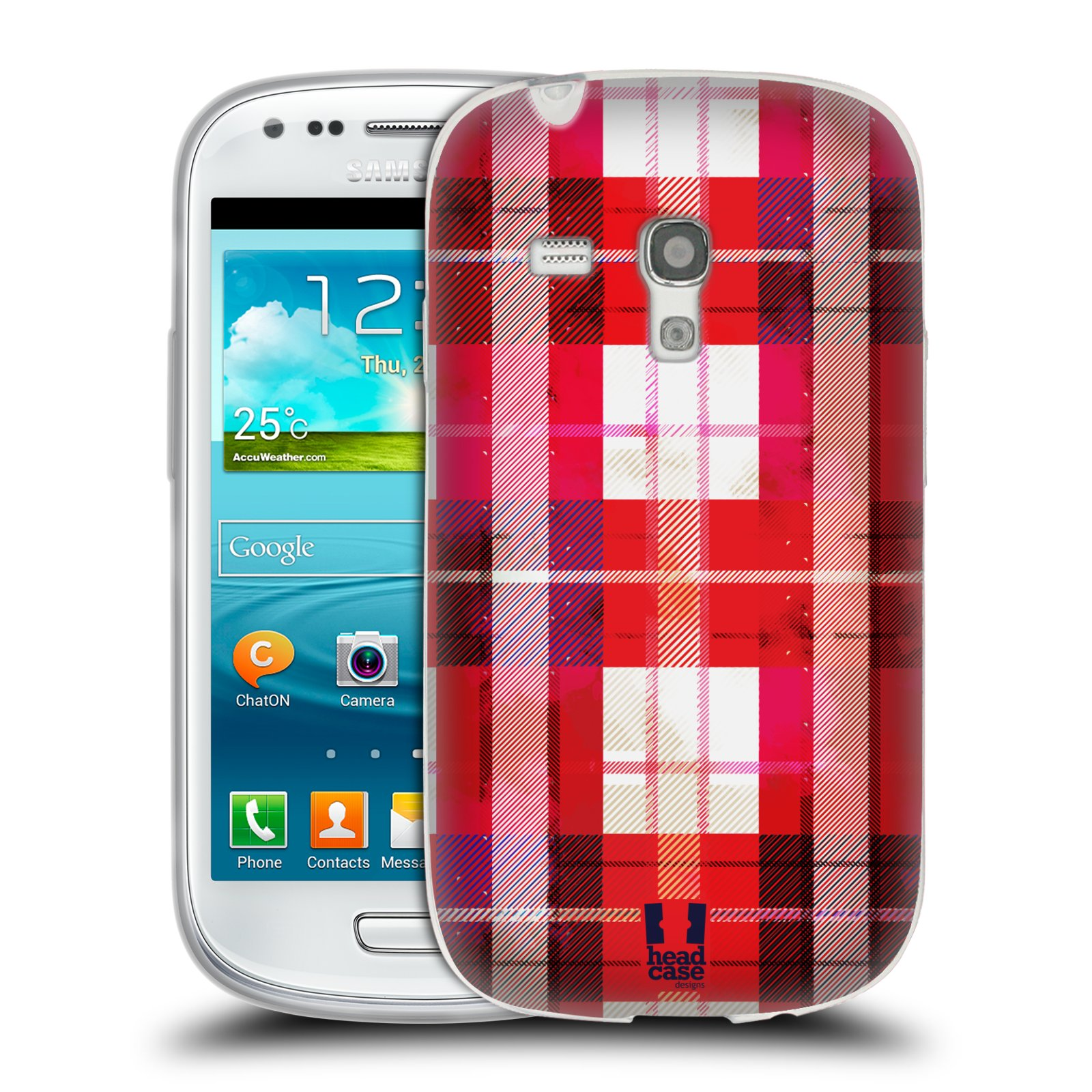 Silikonové pouzdro na mobil Samsung Galaxy S III Mini HEAD CASE FLANEL RED (Silikonový kryt či obal na mobilní telefon Samsung Galaxy S III Mini GT-i8190)