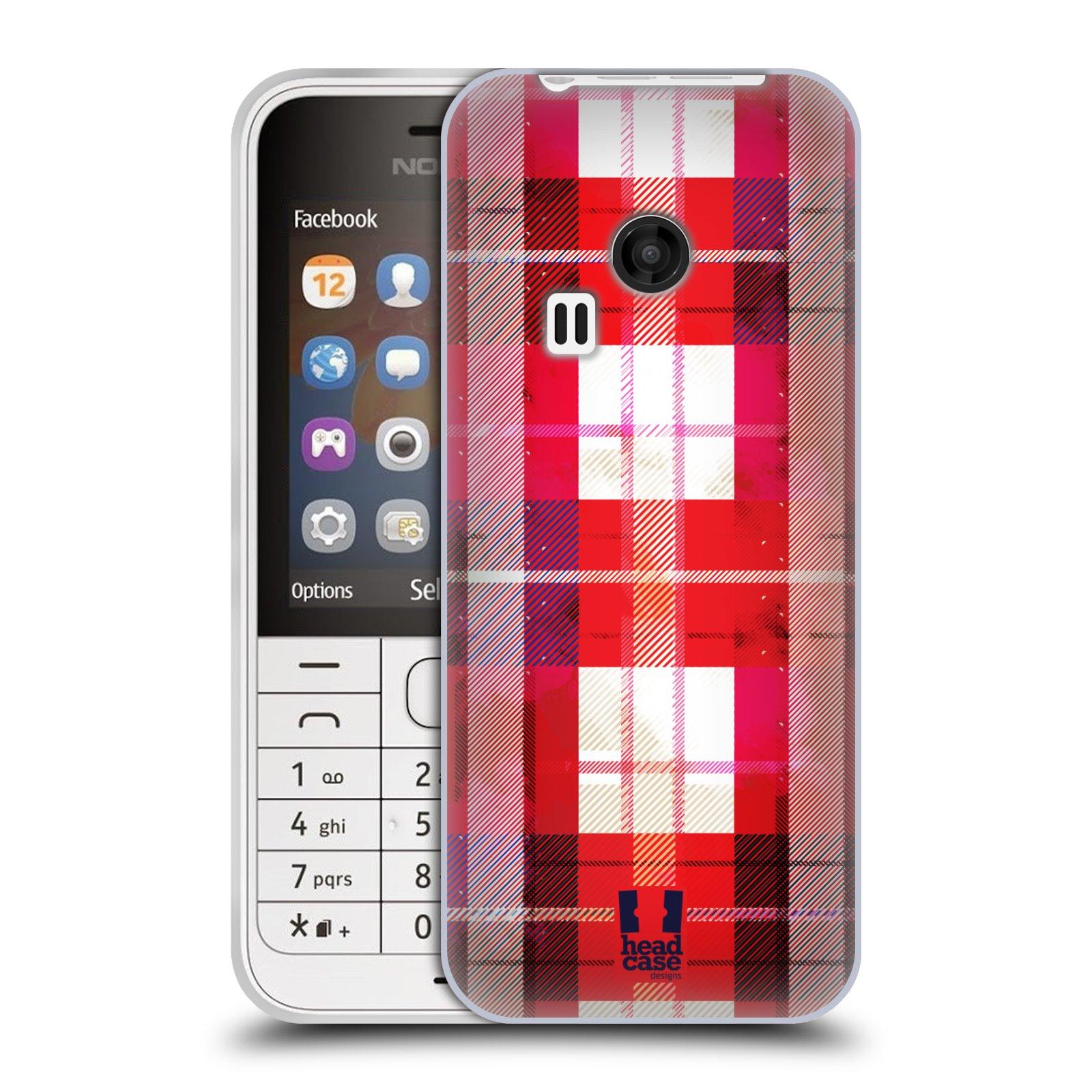 Silikonové pouzdro na mobil Nokia 220 HEAD CASE FLANEL RED (Silikonový kryt či obal na mobilní telefon Nokia 220 a 220 Dual SIM)