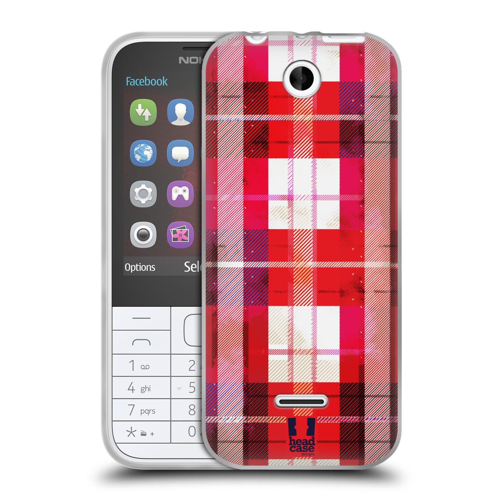 Silikonové pouzdro na mobil Nokia 225 HEAD CASE FLANEL RED (Silikonový kryt či obal na mobilní telefon Nokia 225)