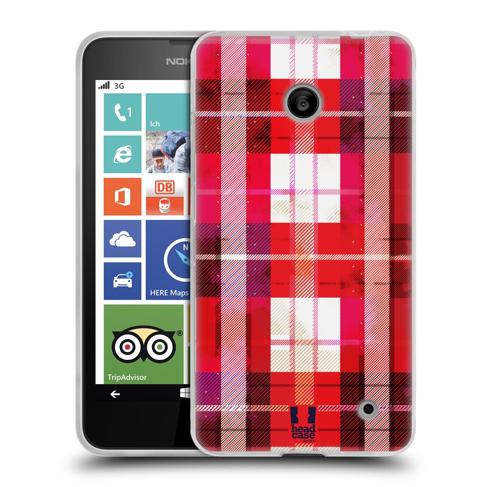 Silikonové pouzdro na mobil Nokia Lumia 630 HEAD CASE FLANEL RED (Silikonový kryt či obal na mobilní telefon Nokia Lumia 630 a Nokia Lumia 630 Dual SIM)