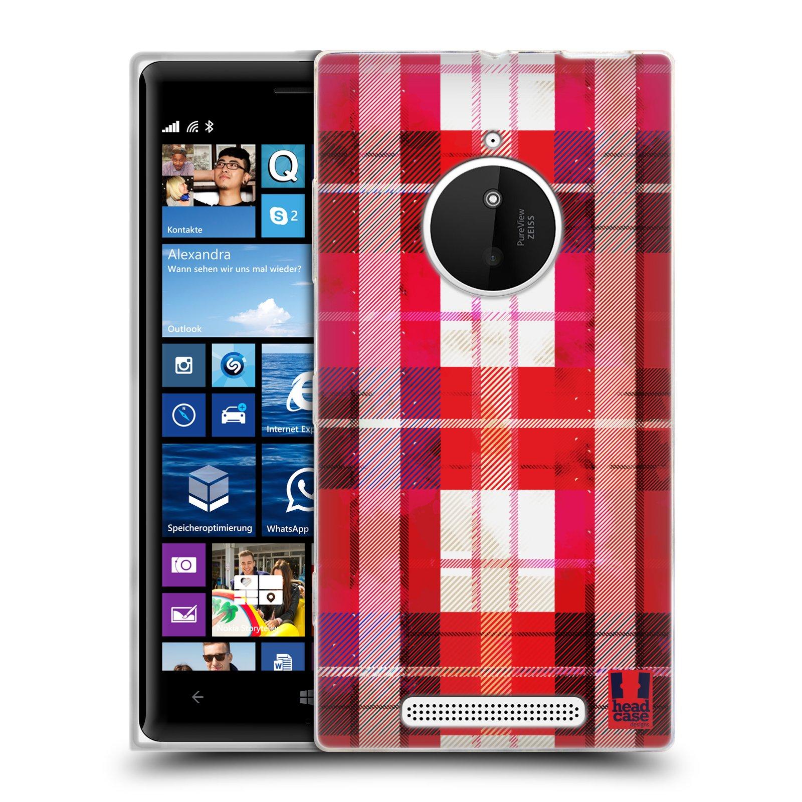 Silikonové pouzdro na mobil Nokia Lumia 830 HEAD CASE FLANEL RED (Silikonový kryt či obal na mobilní telefon Nokia Lumia 830)