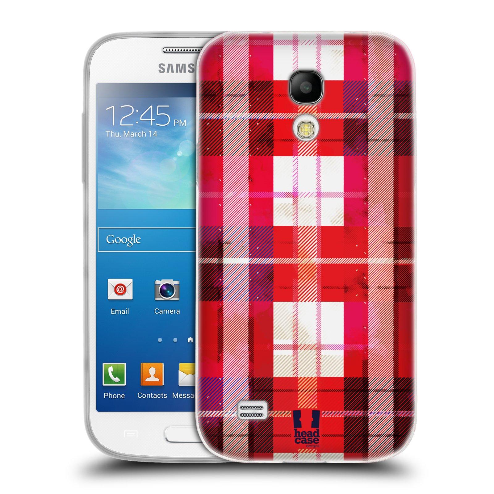 Silikonové pouzdro na mobil Samsung Galaxy S4 Mini HEAD CASE FLANEL RED (Silikonový kryt či obal na mobilní telefon Samsung Galaxy S4 Mini GT-i9195 / i9190 (nepasuje na verzi Black Edition))