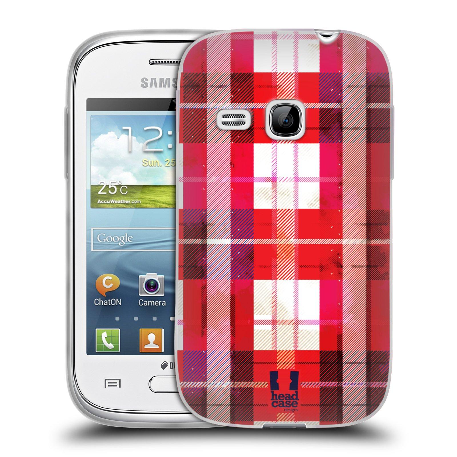 Silikonové pouzdro na mobil Samsung Galaxy Young HEAD CASE FLANEL RED (Silikonový kryt či obal na mobilní telefon Samsung Galaxy Young GT-S6310)