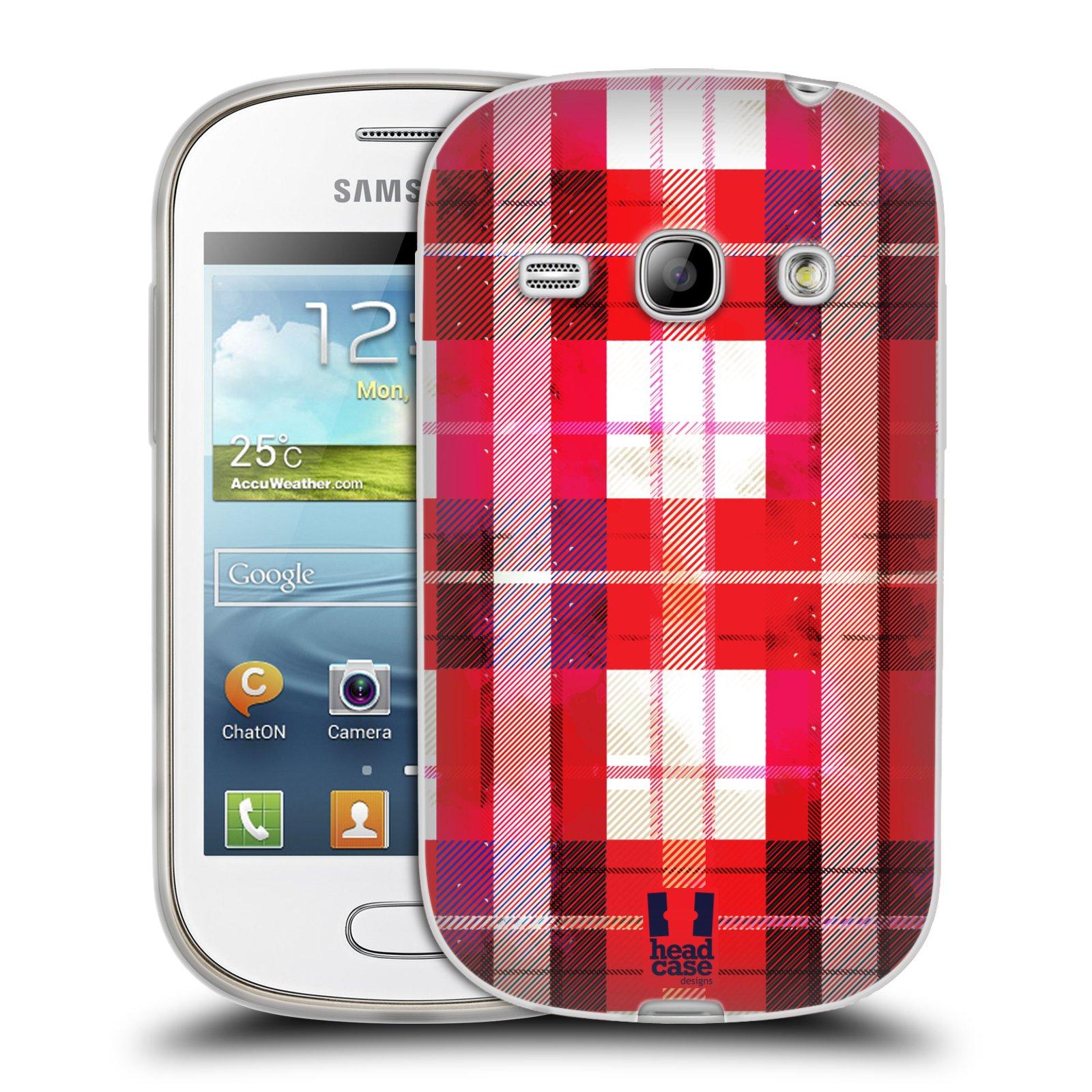 Silikonové pouzdro na mobil Samsung Galaxy Fame HEAD CASE FLANEL RED (Silikonový kryt či obal na mobilní telefon Samsung Galaxy Fame GT-S6810)