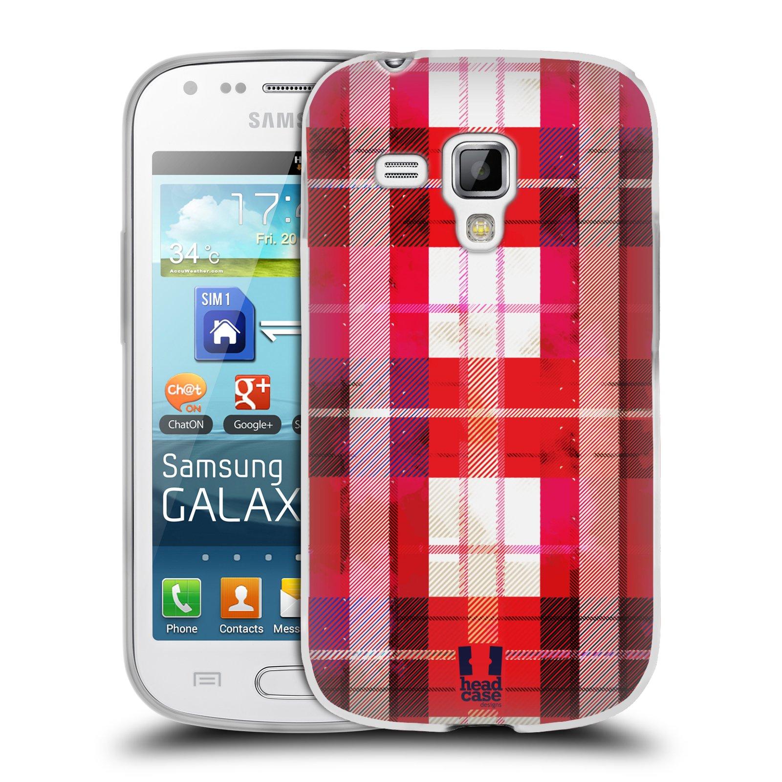 Silikonové pouzdro na mobil Samsung Galaxy Trend HEAD CASE FLANEL RED (Silikonový kryt či obal na mobilní telefon Samsung Galaxy Trend GT-S7560)