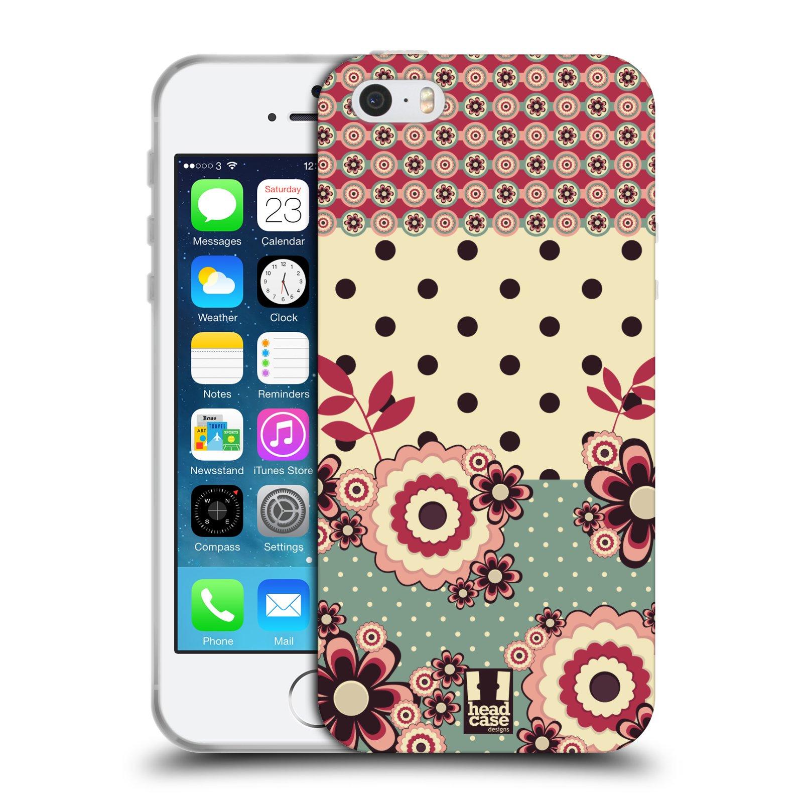 Silikonové pouzdro na mobil Apple iPhone SE, 5 a 5S HEAD CASE KVÍTKA PINK CREAM (Silikonový kryt či obal na mobilní telefon Apple iPhone SE, 5 a 5S)