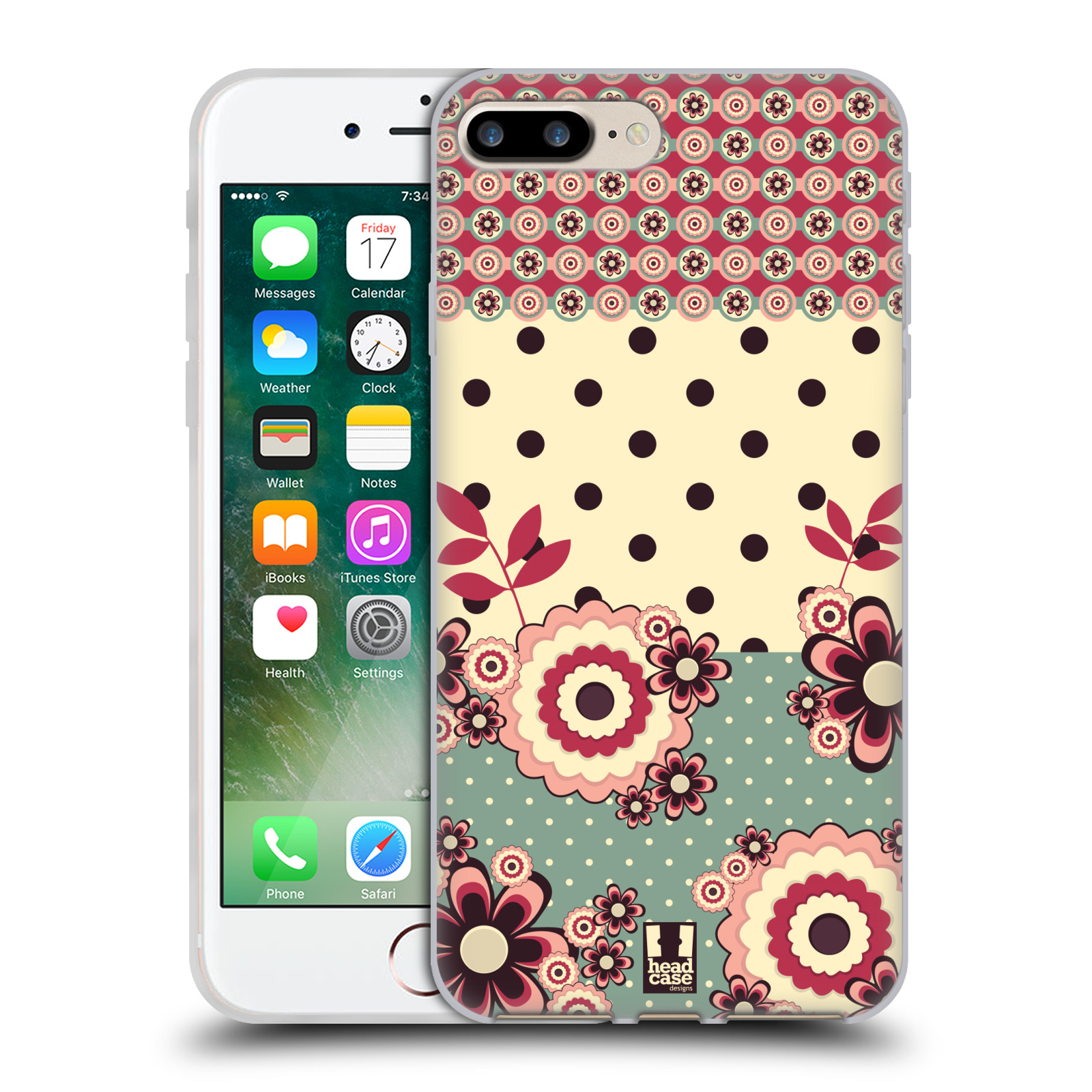 Silikonové pouzdro na mobil Apple iPhone 7 Plus HEAD CASE KVÍTKA PINK CREAM (Silikonový kryt či obal na mobilní telefon Apple iPhone 7 Plus)