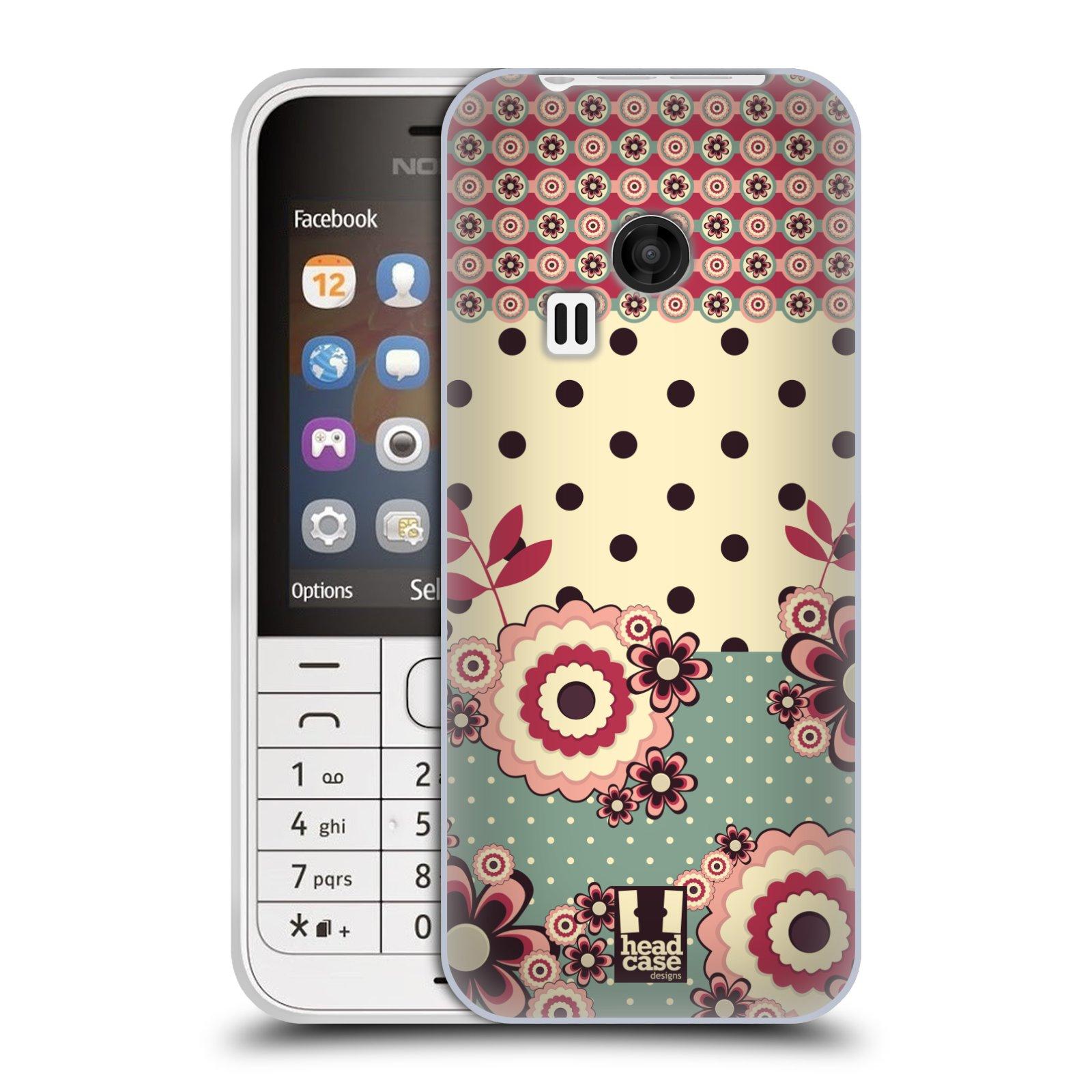 Silikonové pouzdro na mobil Nokia 220 HEAD CASE KVÍTKA PINK CREAM (Silikonový kryt či obal na mobilní telefon Nokia 220 a 220 Dual SIM)