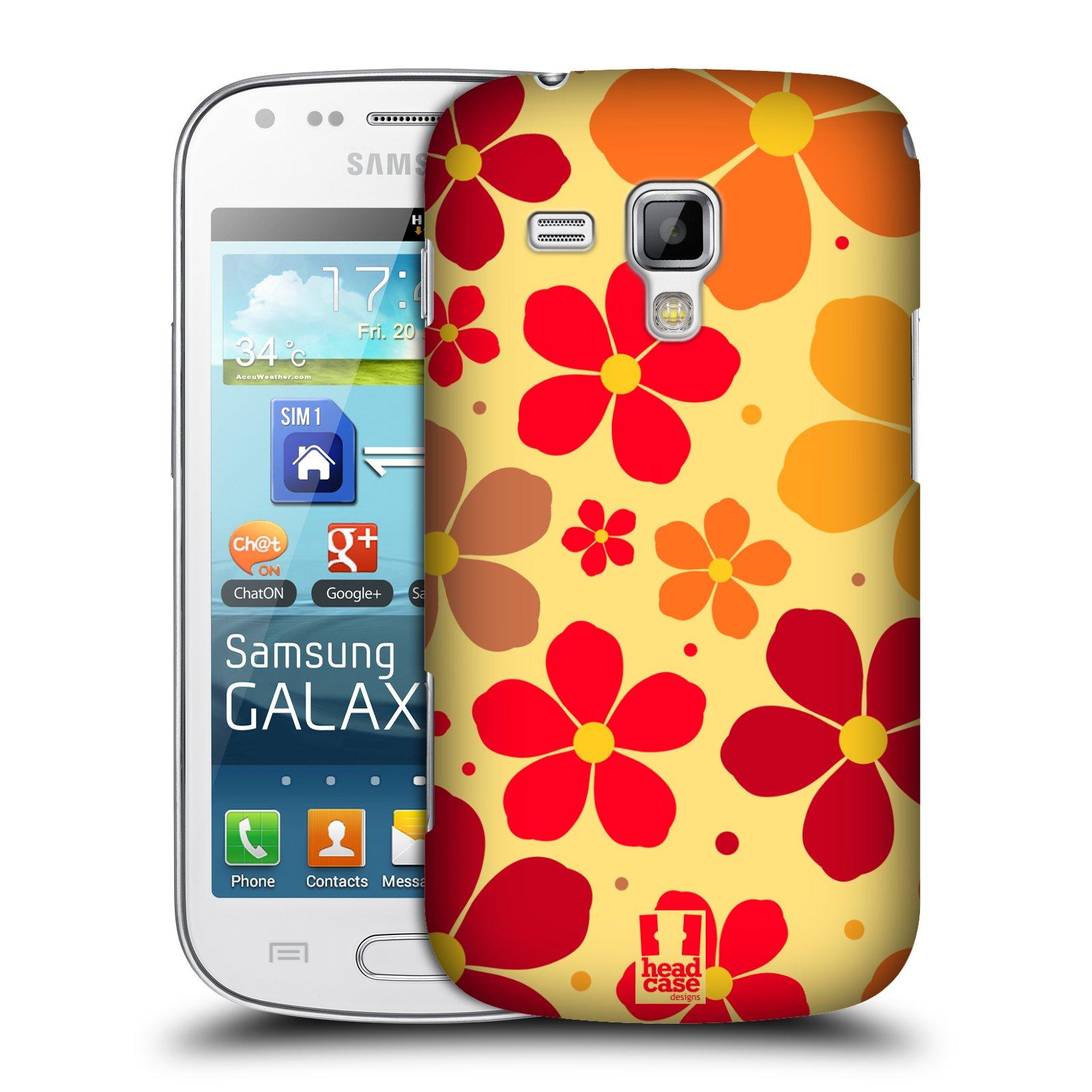 Plastové pouzdro na mobil Samsung Galaxy S Duos 2 HEAD CASE ORANŽOVÉ KYTIČKY