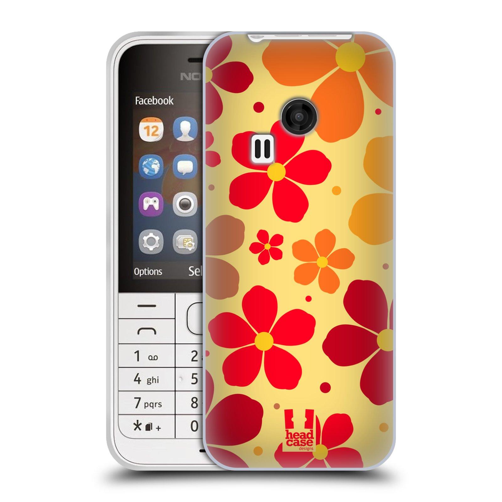 Silikonové pouzdro na mobil Nokia 220 HEAD CASE ORANŽOVÉ KYTIČKY