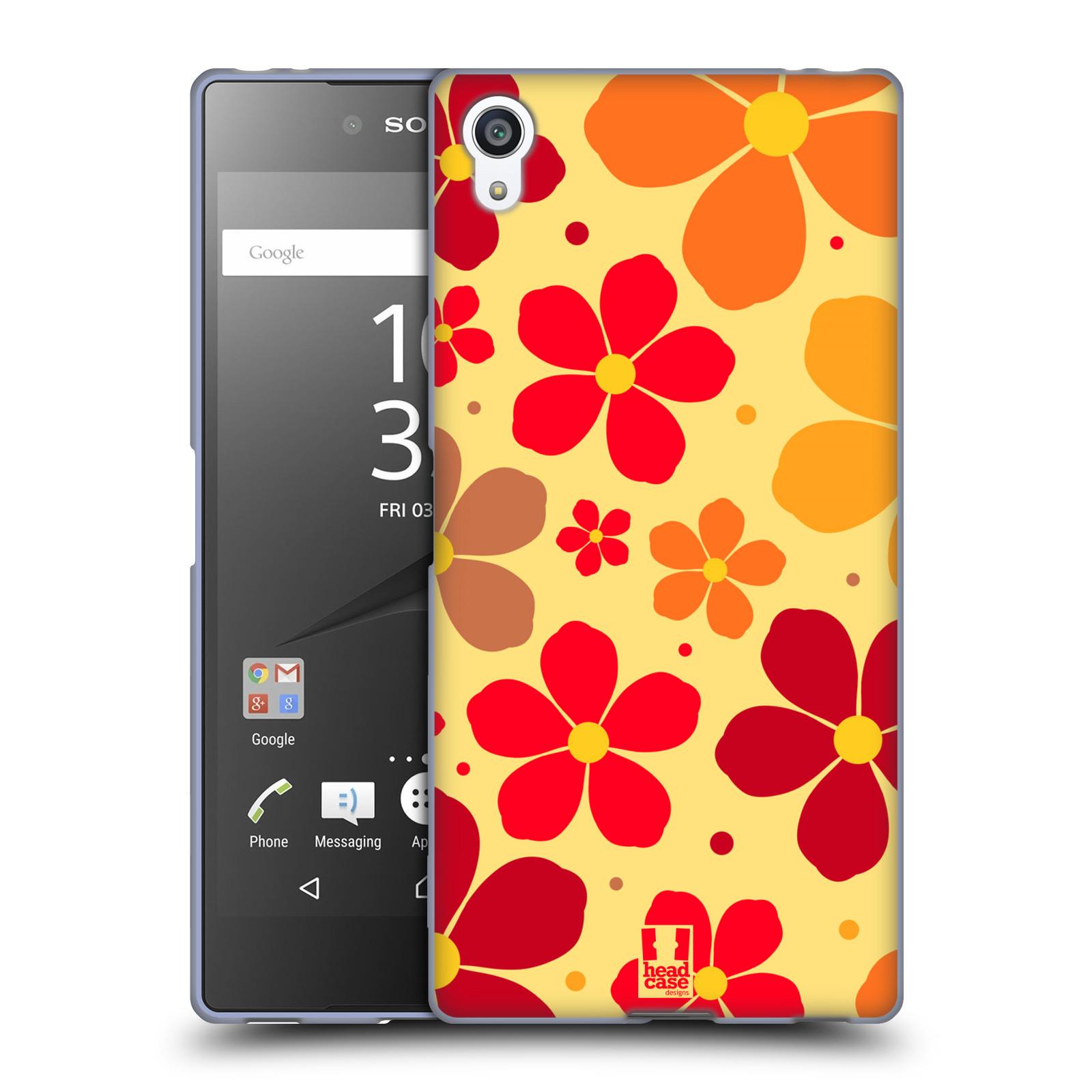 Silikonové pouzdro na mobil Sony Xperia Z5 Premium HEAD CASE ORANŽOVÉ KYTIČKY