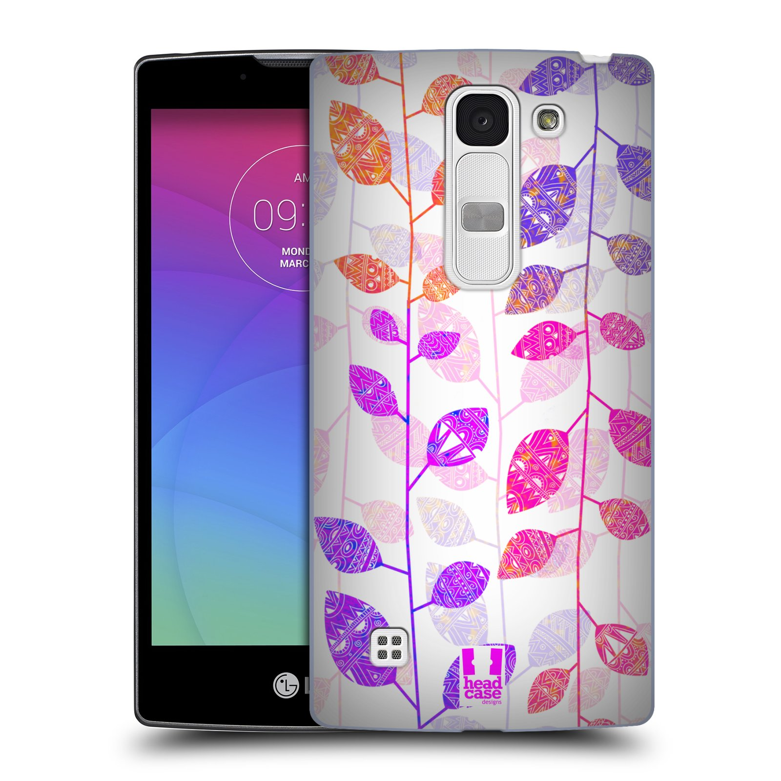 Plastové pouzdro na mobil LG Spirit LTE HEAD CASE AZTEC LÍSTKY (Kryt či obal na mobilní telefon LG Spirit H420 a LG Spirit LTE H440N)