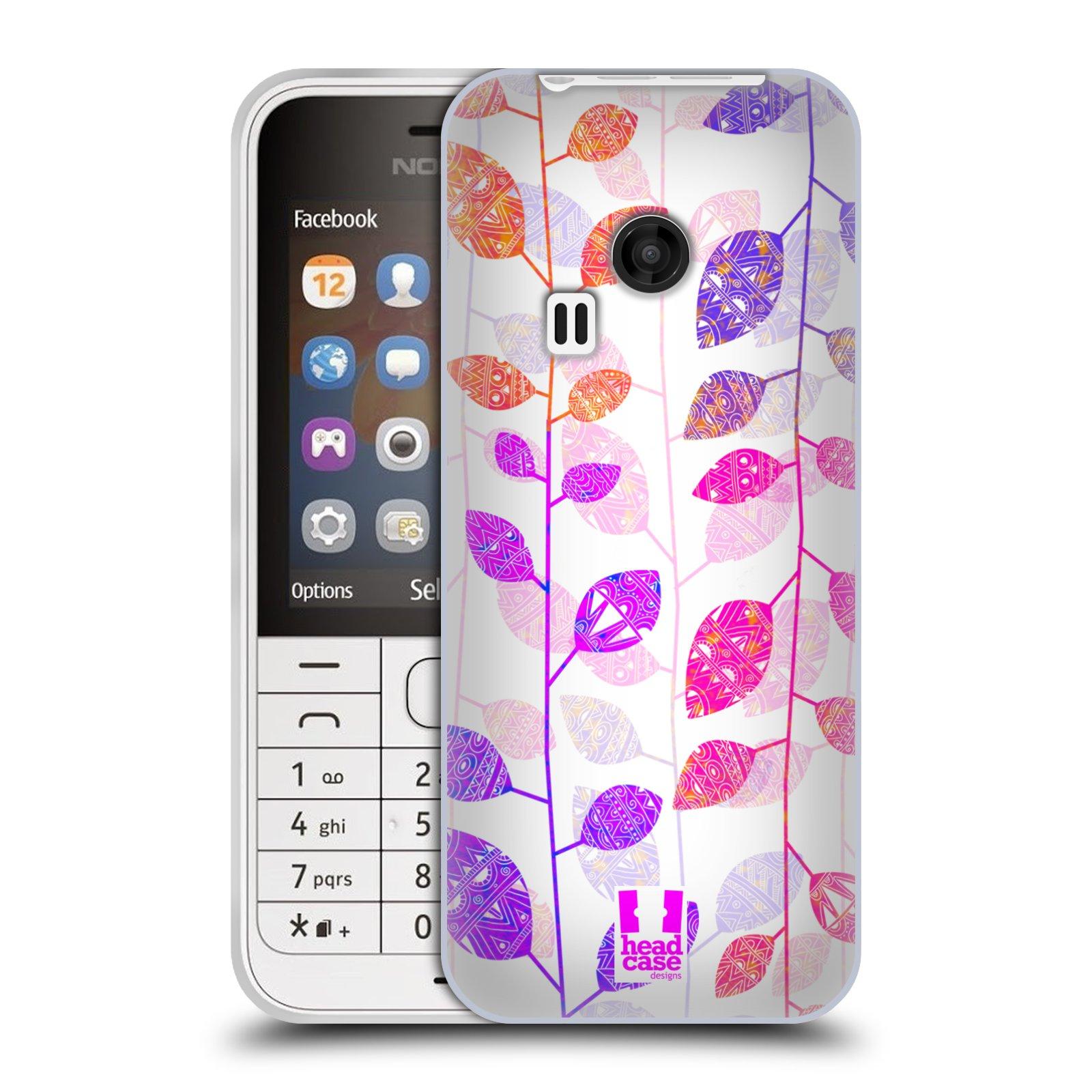 Silikonové pouzdro na mobil Nokia 220 HEAD CASE AZTEC LÍSTKY