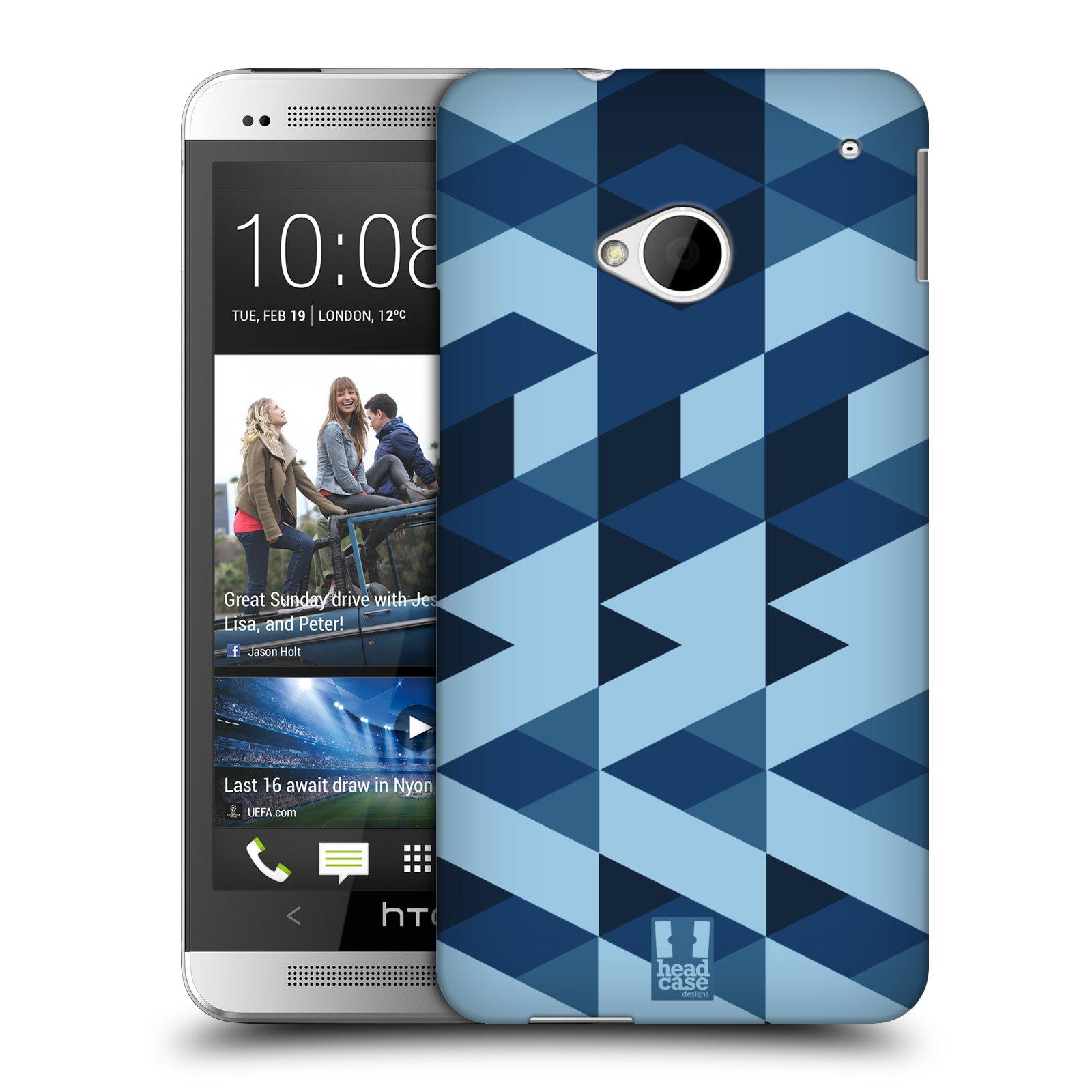 Plastové pouzdro na mobil HTC ONE M7 HEAD CASE GEOMETRIC BLUE (Kryt či obal na mobilní telefon HTC ONE M7)