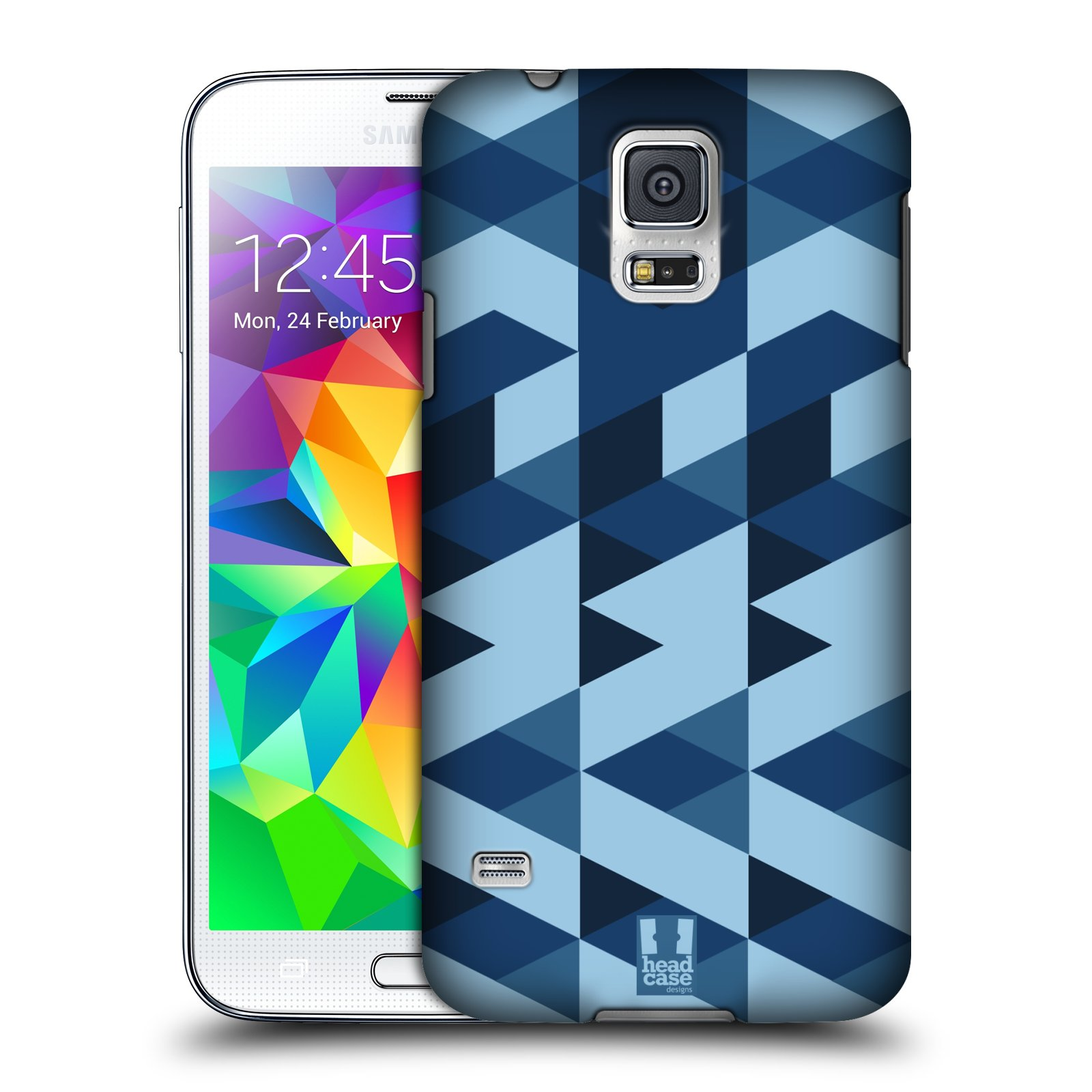 Plastové pouzdro na mobil Samsung Galaxy S5 HEAD CASE GEOMETRIC BLUE (Kryt či obal na mobilní telefon Samsung Galaxy S5 SM-G900F)