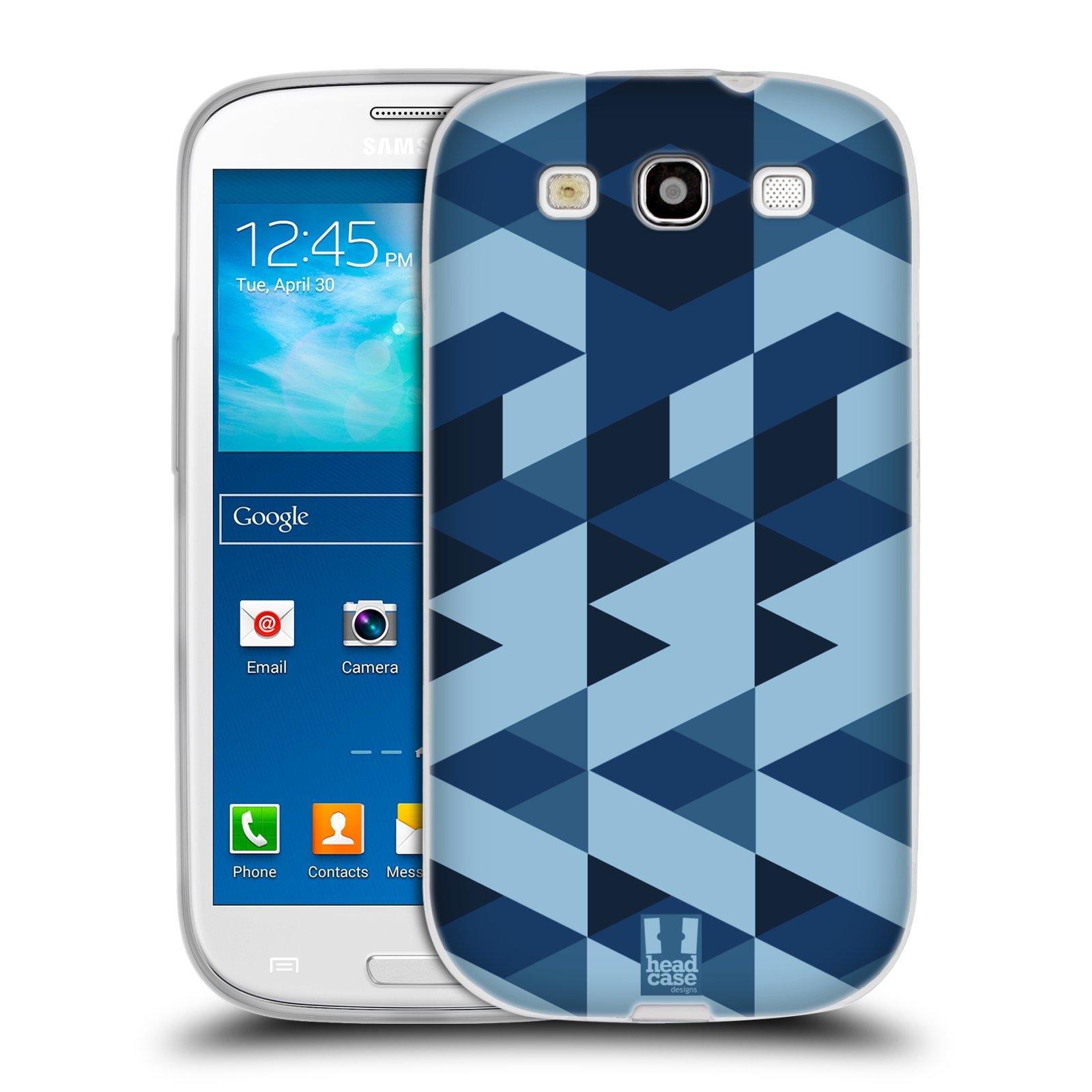 Silikonové pouzdro na mobil Samsung Galaxy S3 Neo HEAD CASE GEOMETRIC BLUE (Silikonový kryt či obal na mobilní telefon Samsung Galaxy S3 Neo GT-i9301i)
