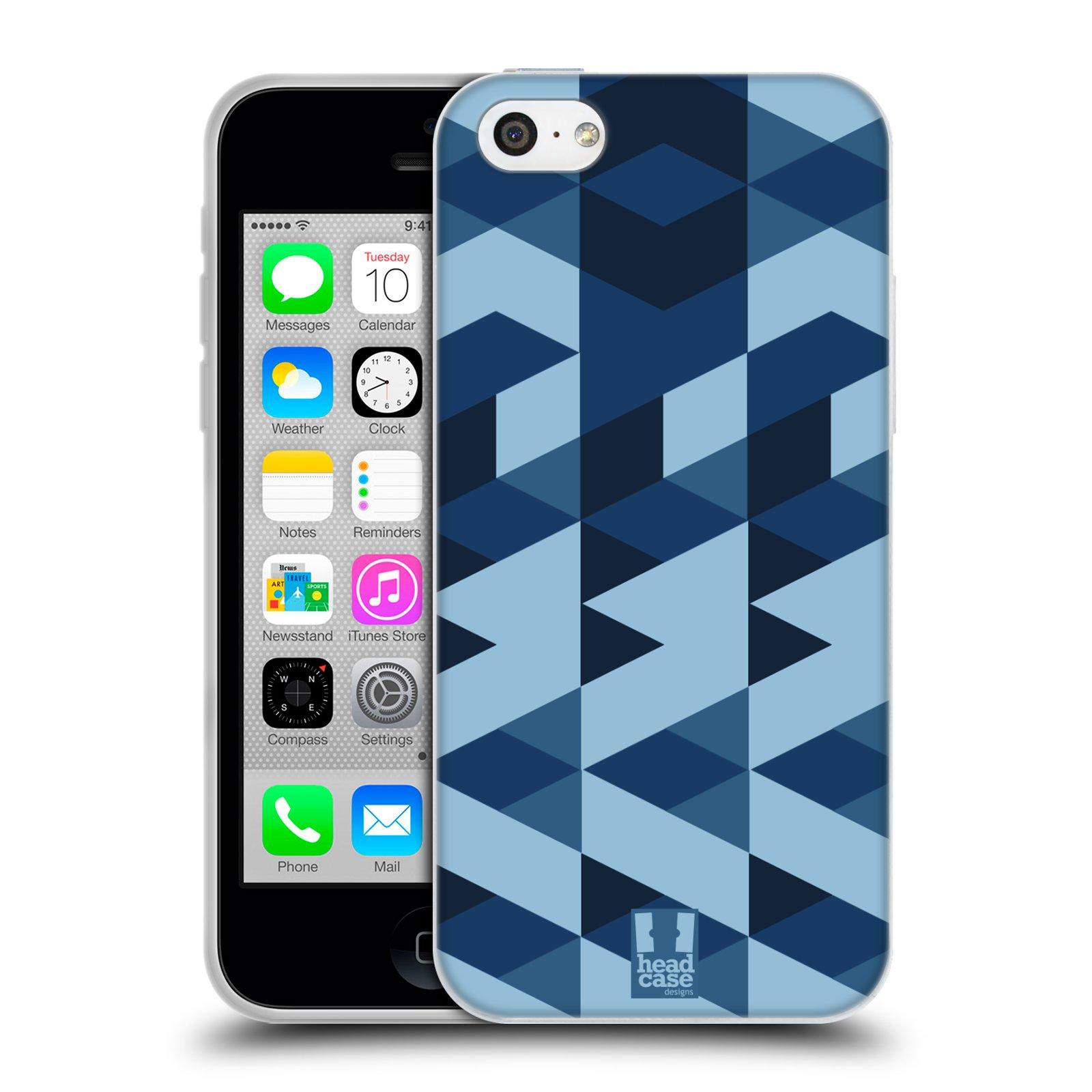 Silikonové pouzdro na mobil Apple iPhone 5C HEAD CASE GEOMETRIC BLUE (Silikonový kryt či obal na mobilní telefon Apple iPhone 5C)