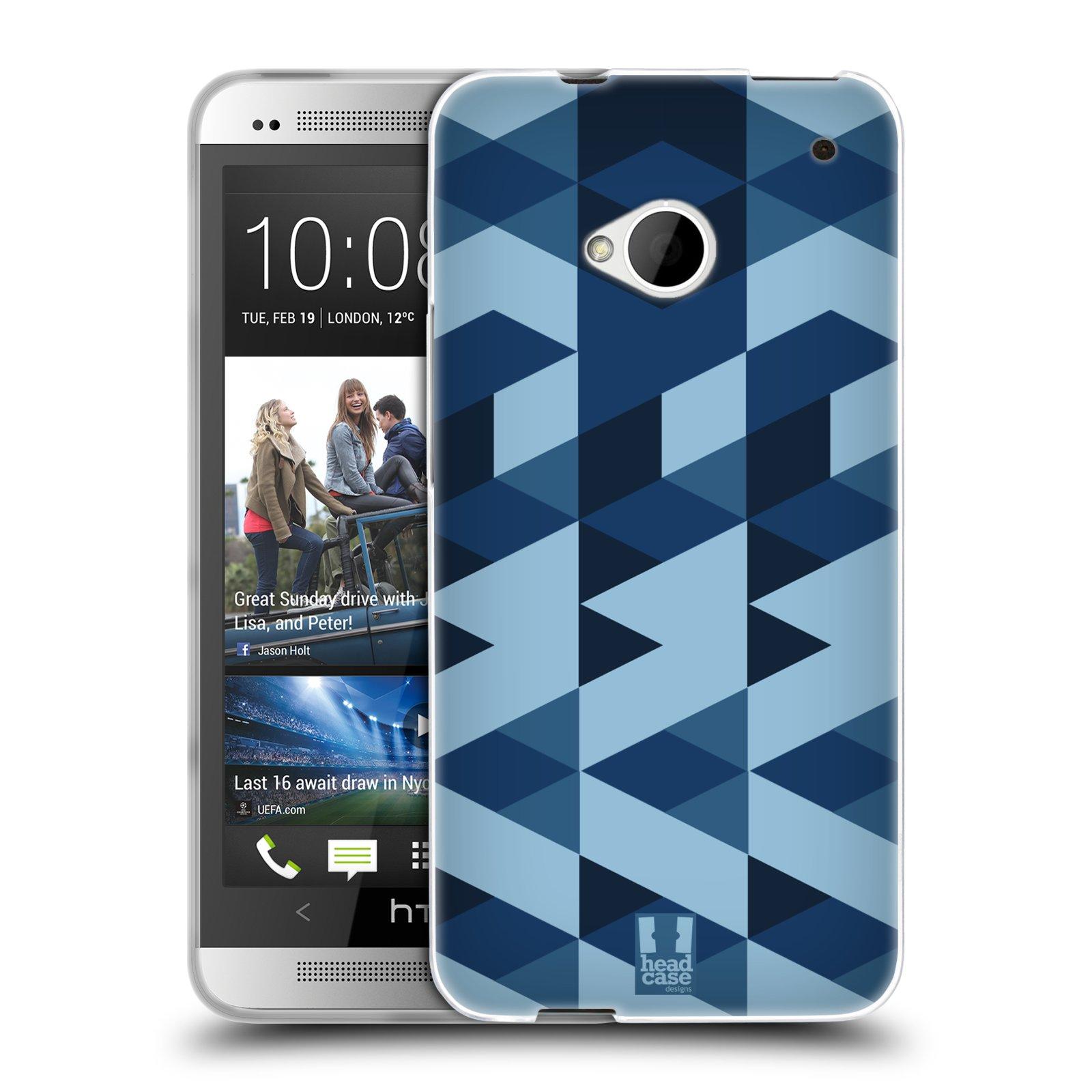 Silikonové pouzdro na mobil HTC ONE M7 HEAD CASE GEOMETRIC BLUE (Silikonový kryt či obal na mobilní telefon HTC ONE M7)