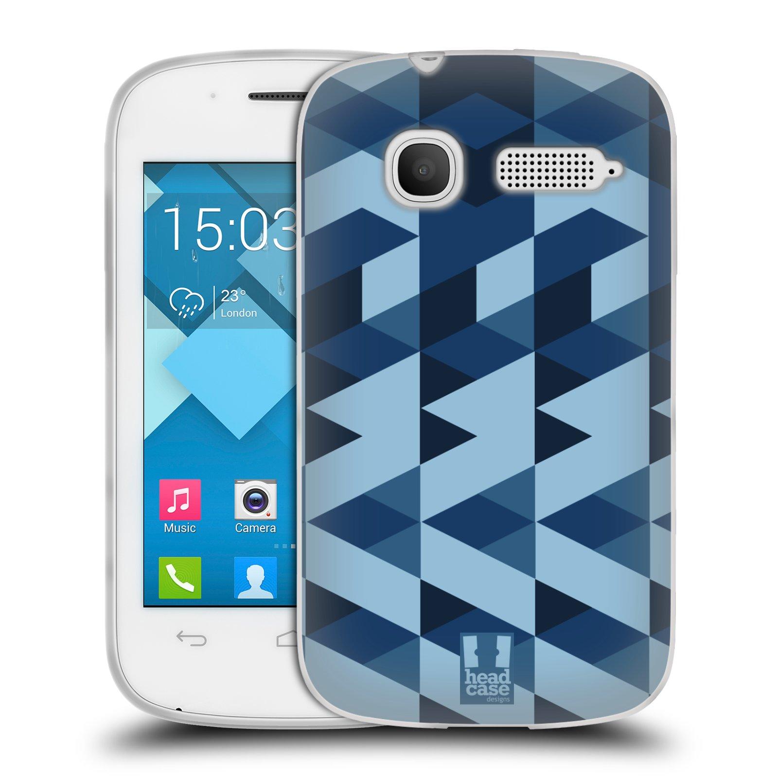 Silikonové pouzdro na mobil Alcatel One Touch Pop C1 HEAD CASE GEOMETRIC BLUE (Silikonový kryt či obal na mobilní telefon Alcatel OT-4015D POP C1)