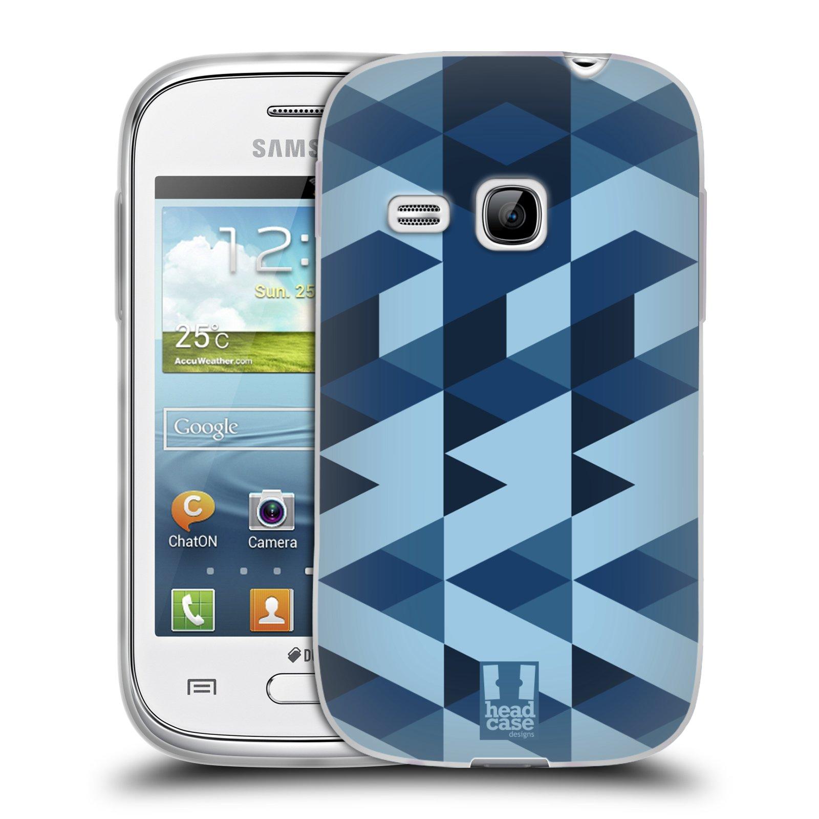 Silikonové pouzdro na mobil Samsung Galaxy Young HEAD CASE GEOMETRIC BLUE (Silikonový kryt či obal na mobilní telefon Samsung Galaxy Young GT-S6310)