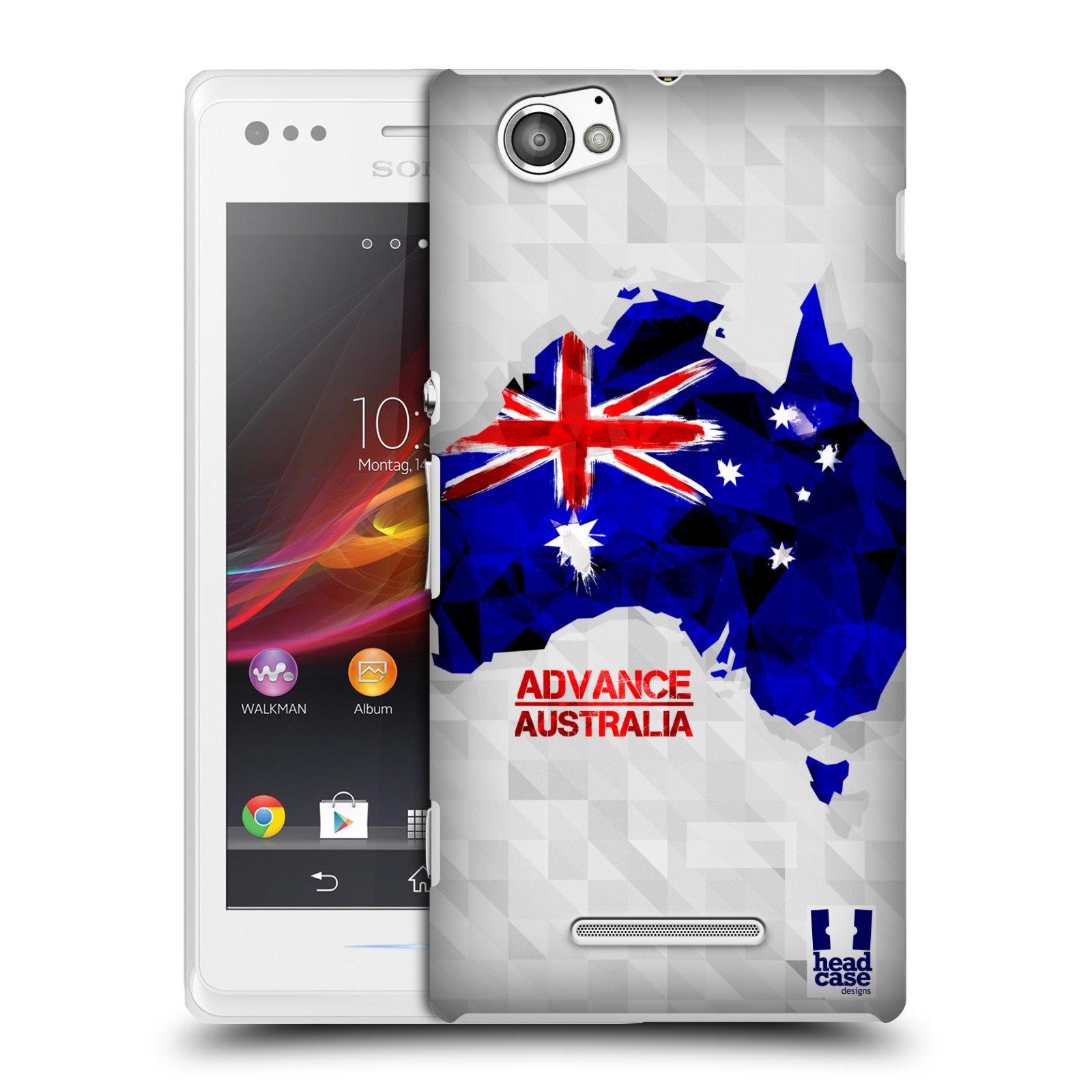 Plastové pouzdro na mobil Sony Xperia M C1905 HEAD CASE GEOMAPA AUSTRÁLIE (Kryt či obal na mobilní telefon Sony Xperia M a M Dual)