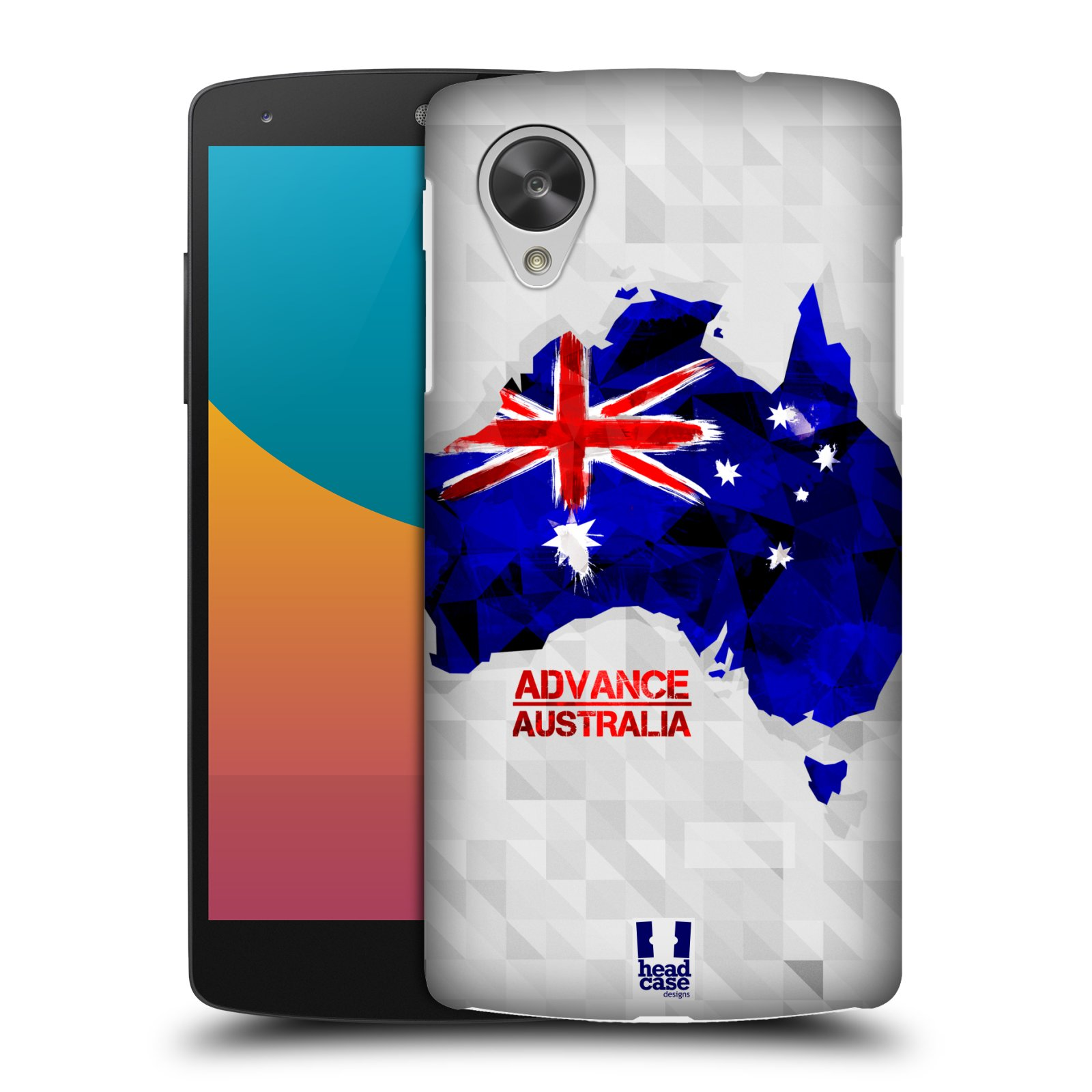 Plastové pouzdro na mobil LG Nexus 5 HEAD CASE GEOMAPA AUSTRÁLIE (Kryt či obal na mobilní telefon LG Google Nexus 5 D821)