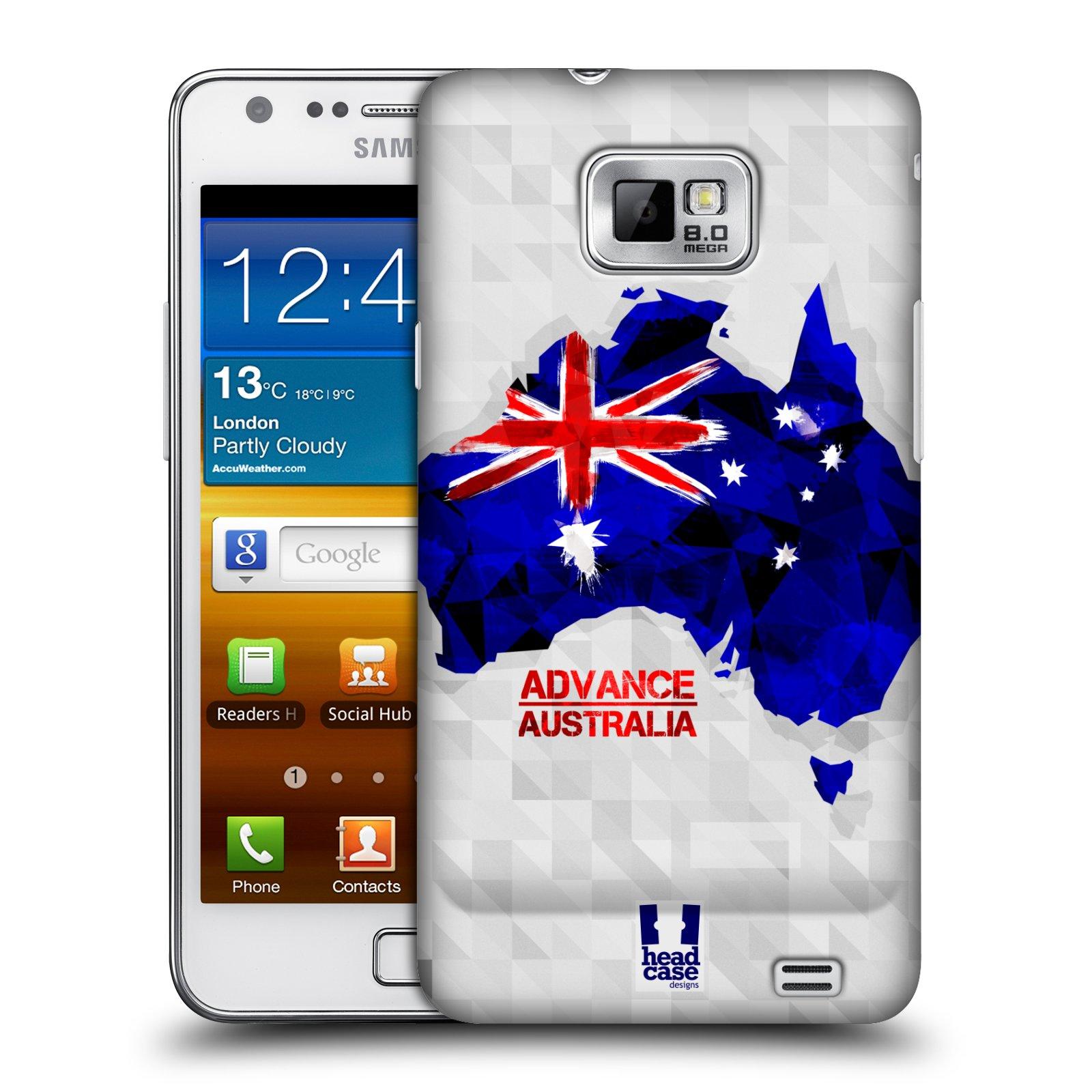 Plastové pouzdro na mobil Samsung Galaxy S II HEAD CASE GEOMAPA AUSTRÁLIE (Kryt či obal na mobilní telefon Samsung Galaxy S II GT-i9100)