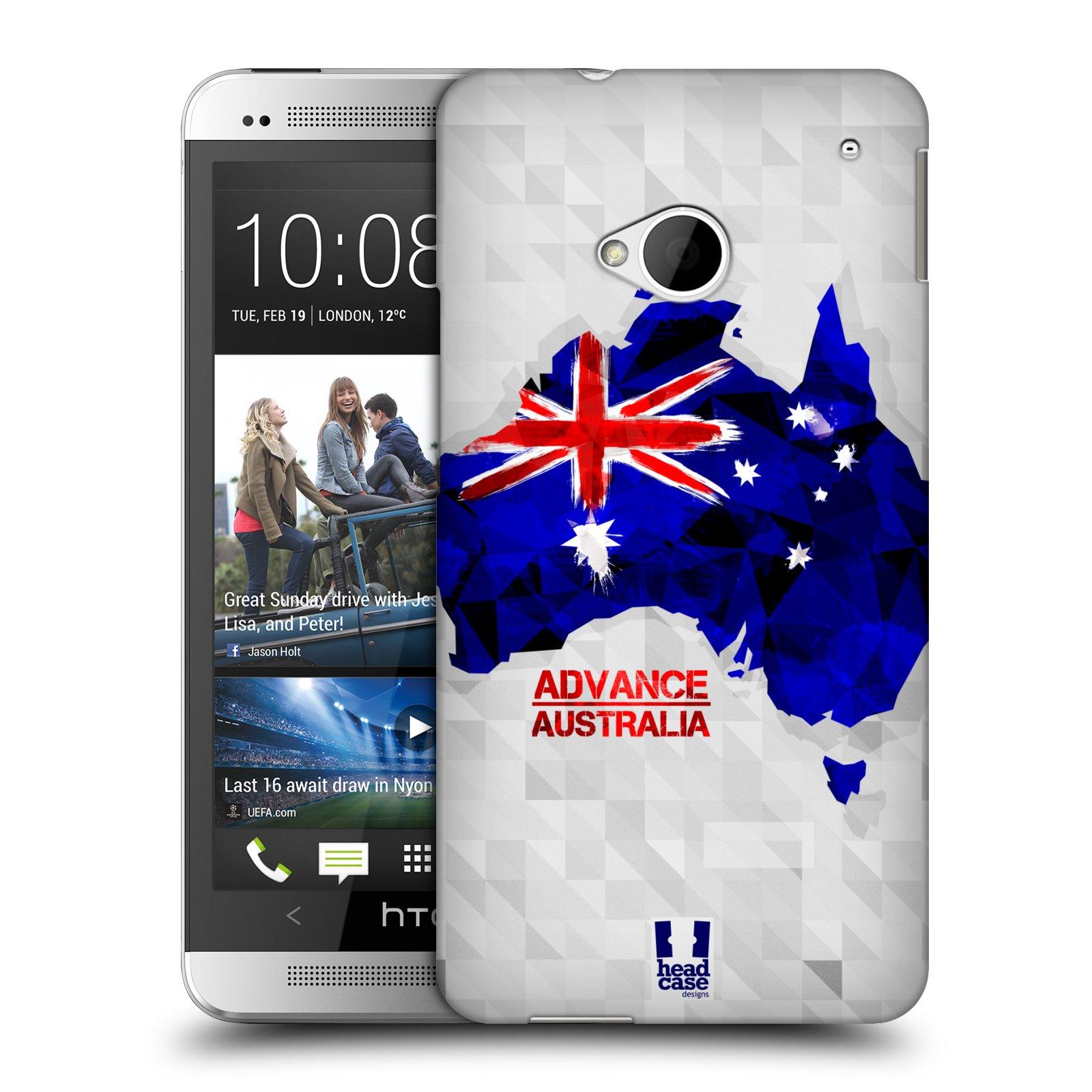 Plastové pouzdro na mobil HTC ONE M7 HEAD CASE GEOMAPA AUSTRÁLIE (Kryt či obal na mobilní telefon HTC ONE M7)