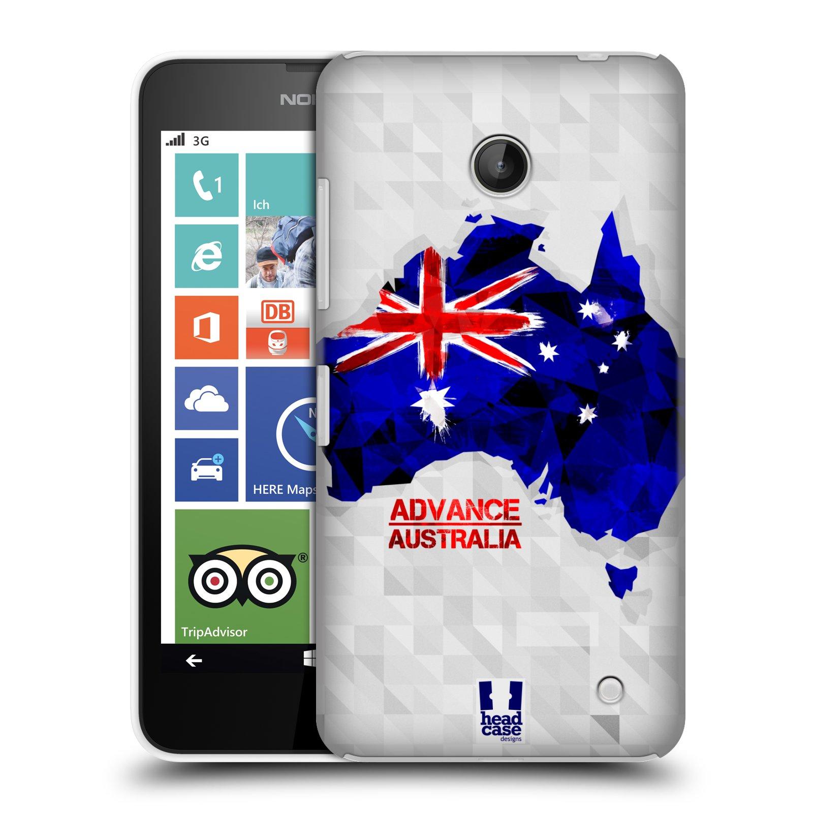 Plastové pouzdro na mobil Nokia Lumia 630 HEAD CASE GEOMAPA AUSTRÁLIE (Kryt či obal na mobilní telefon Nokia Lumia 630 a Nokia Lumia 630 Dual SIM)