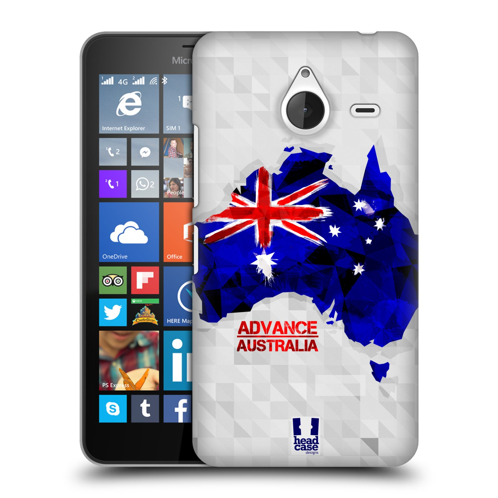 Plastové pouzdro na mobil Microsoft Lumia 640 XL HEAD CASE GEOMAPA AUSTRÁLIE (Kryt či obal na mobilní telefon Microsoft Lumia 640 XL)