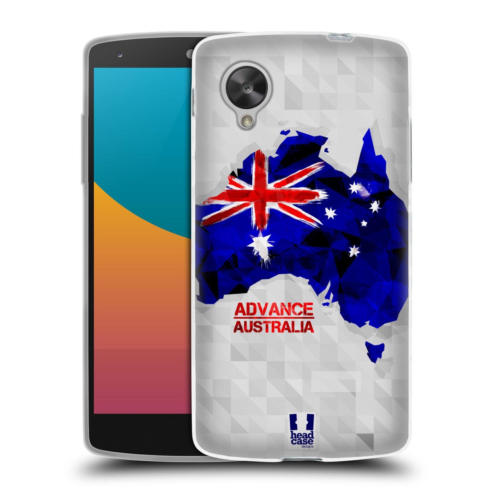 Silikonové pouzdro na mobil LG Nexus 5 HEAD CASE GEOMAPA AUSTRÁLIE (Silikonový kryt či obal na mobilní telefon LG Google Nexus 5 D821)