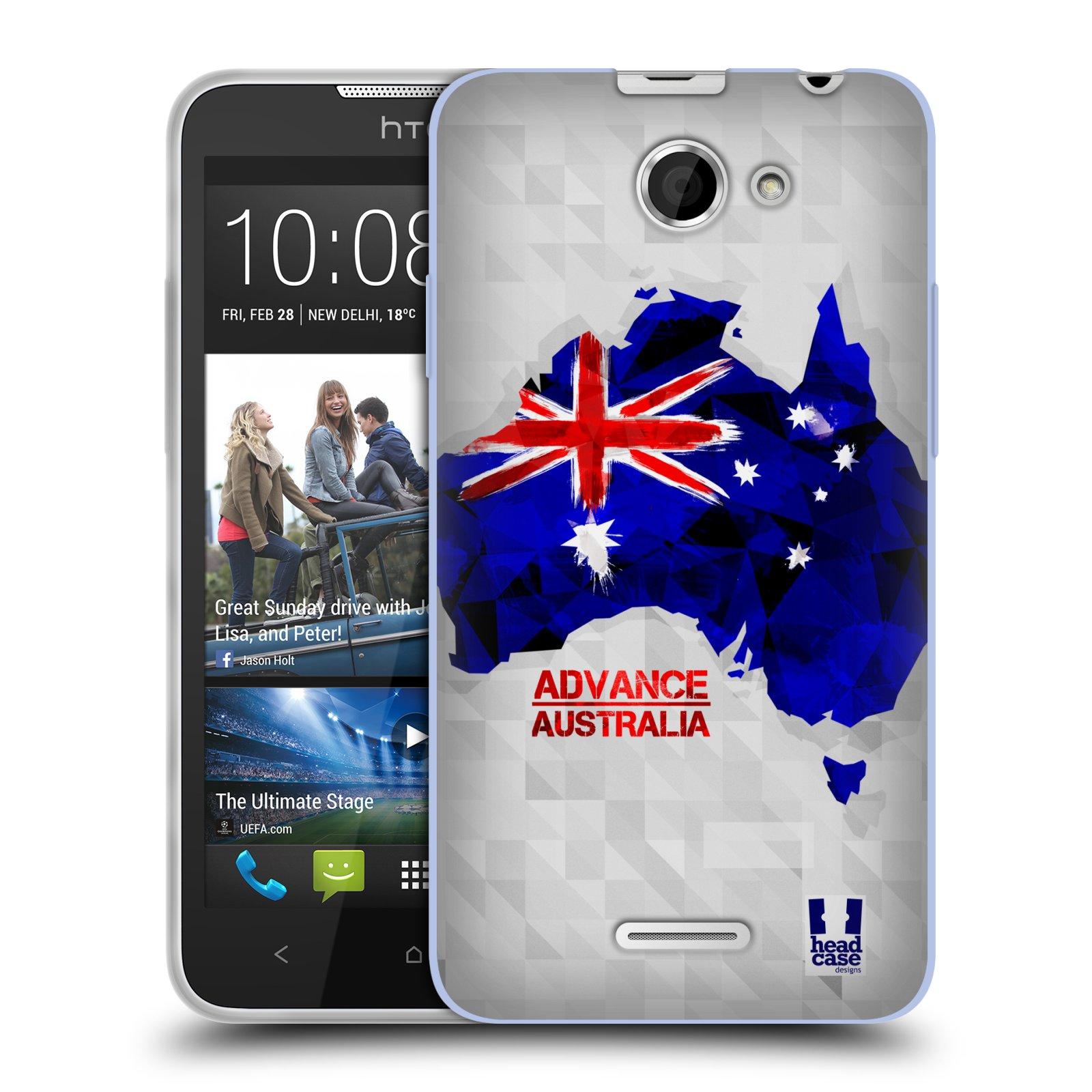 Silikonové pouzdro na mobil HTC Desire 516 HEAD CASE GEOMAPA AUSTRÁLIE (Silikonový kryt či obal na mobilní telefon HTC Desire 516 Dual SIM)