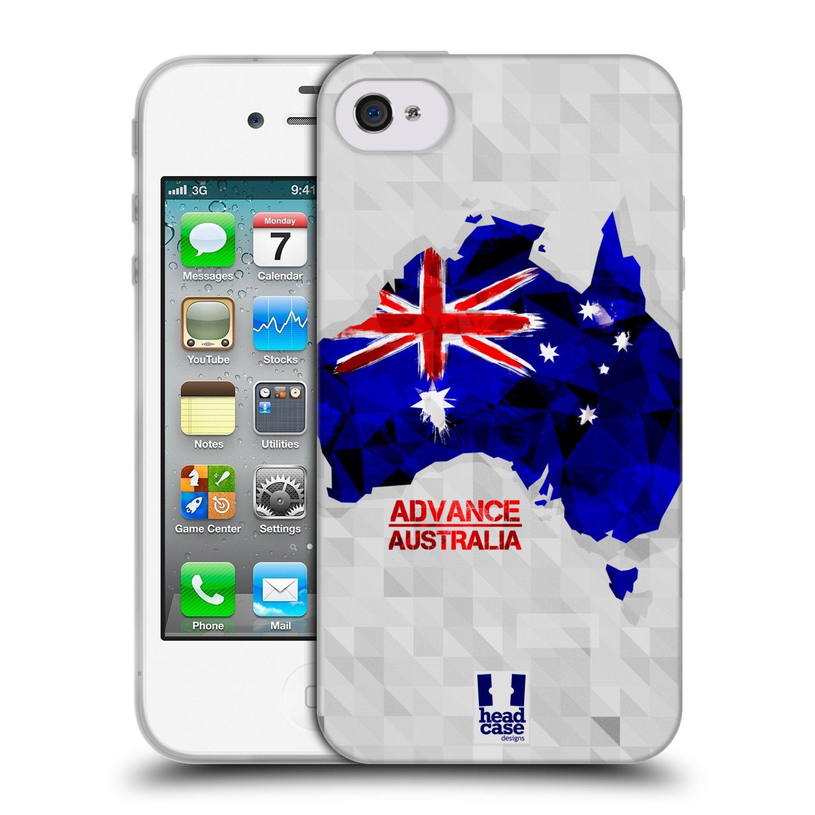 Silikonové pouzdro na mobil Apple iPhone 4 a 4S HEAD CASE GEOMAPA AUSTRÁLIE (Silikonový kryt či obal na mobilní telefon Apple iPhone 4 a 4S)