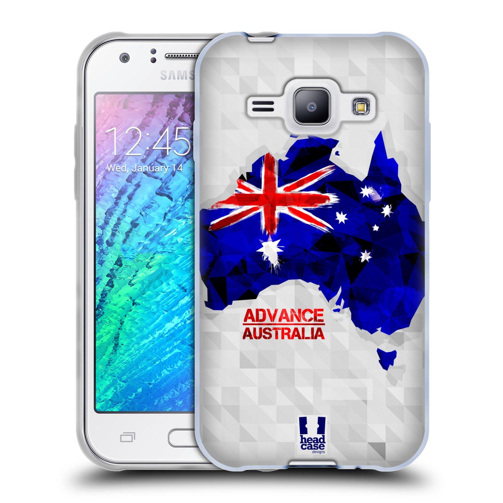 Silikonové pouzdro na mobil Samsung Galaxy J1 HEAD CASE GEOMAPA AUSTRÁLIE (Silikonový kryt či obal na mobilní telefon Samsung Galaxy J1 a J1 Duos)