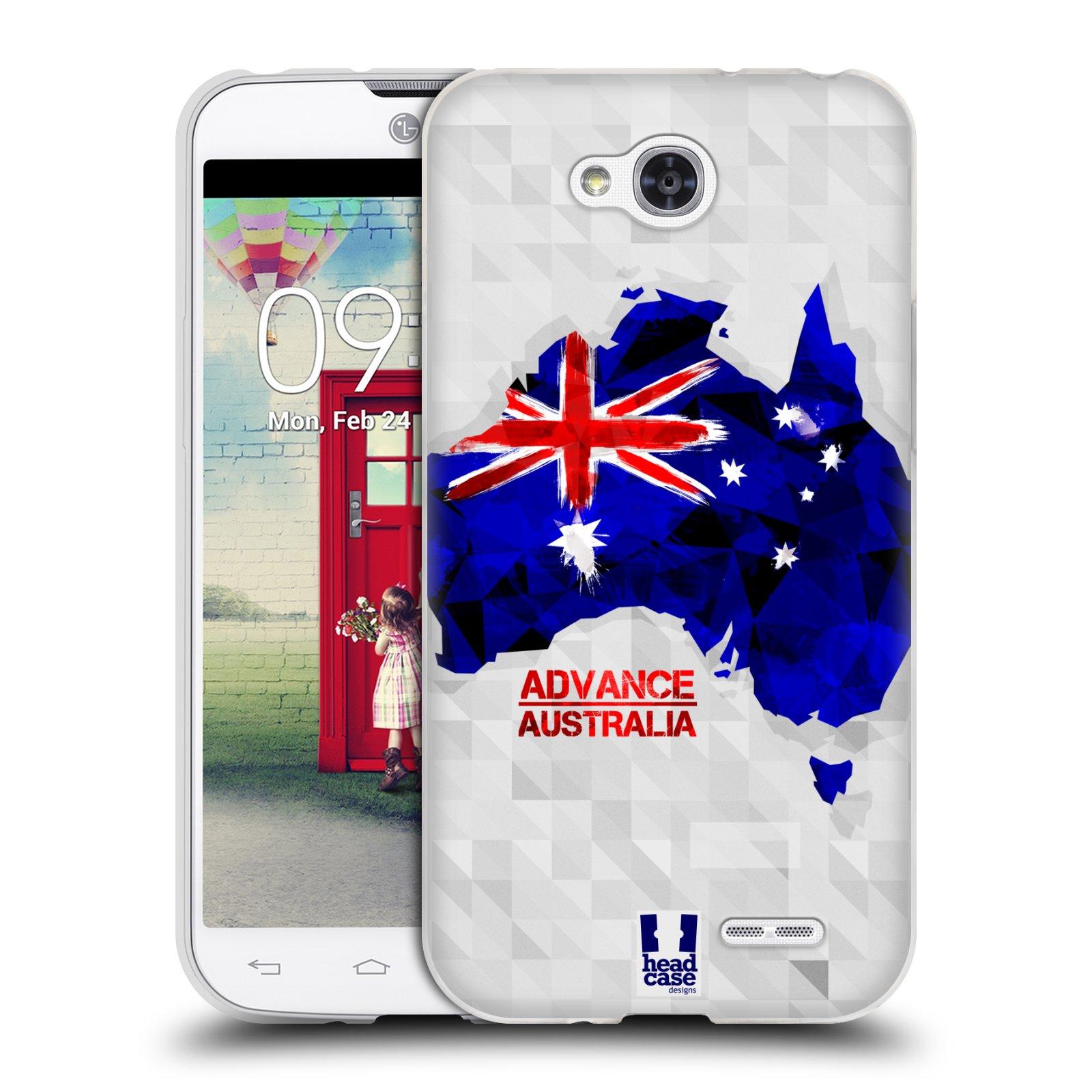 Silikonové pouzdro na mobil LG L90 HEAD CASE GEOMAPA AUSTRÁLIE (Silikonový kryt či obal na mobilní telefon LG L90 D405n)