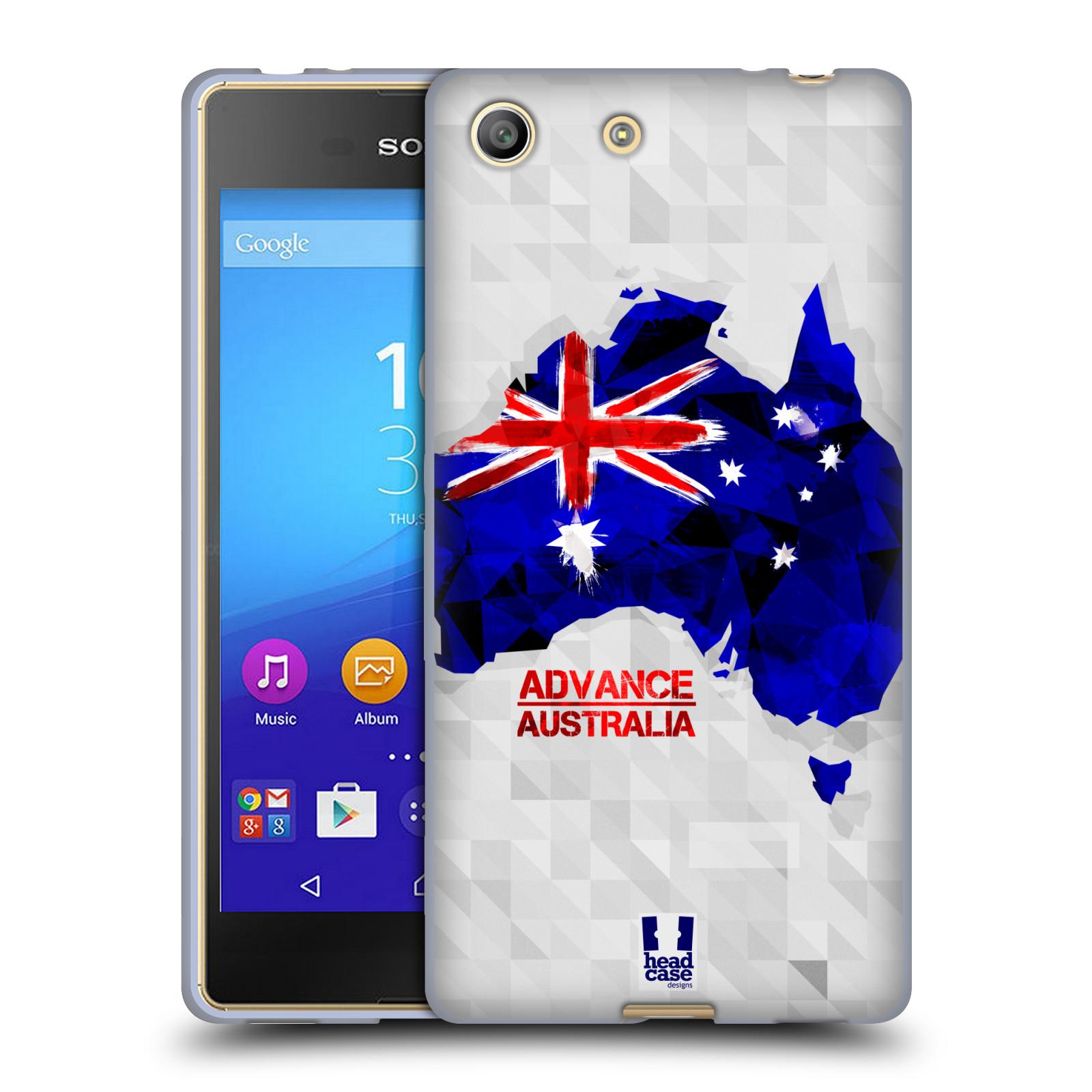 Silikonové pouzdro na mobil Sony Xperia M5 HEAD CASE GEOMAPA AUSTRÁLIE (Silikonový kryt či obal na mobilní telefon Sony Xperia M5 Dual SIM / Aqua)