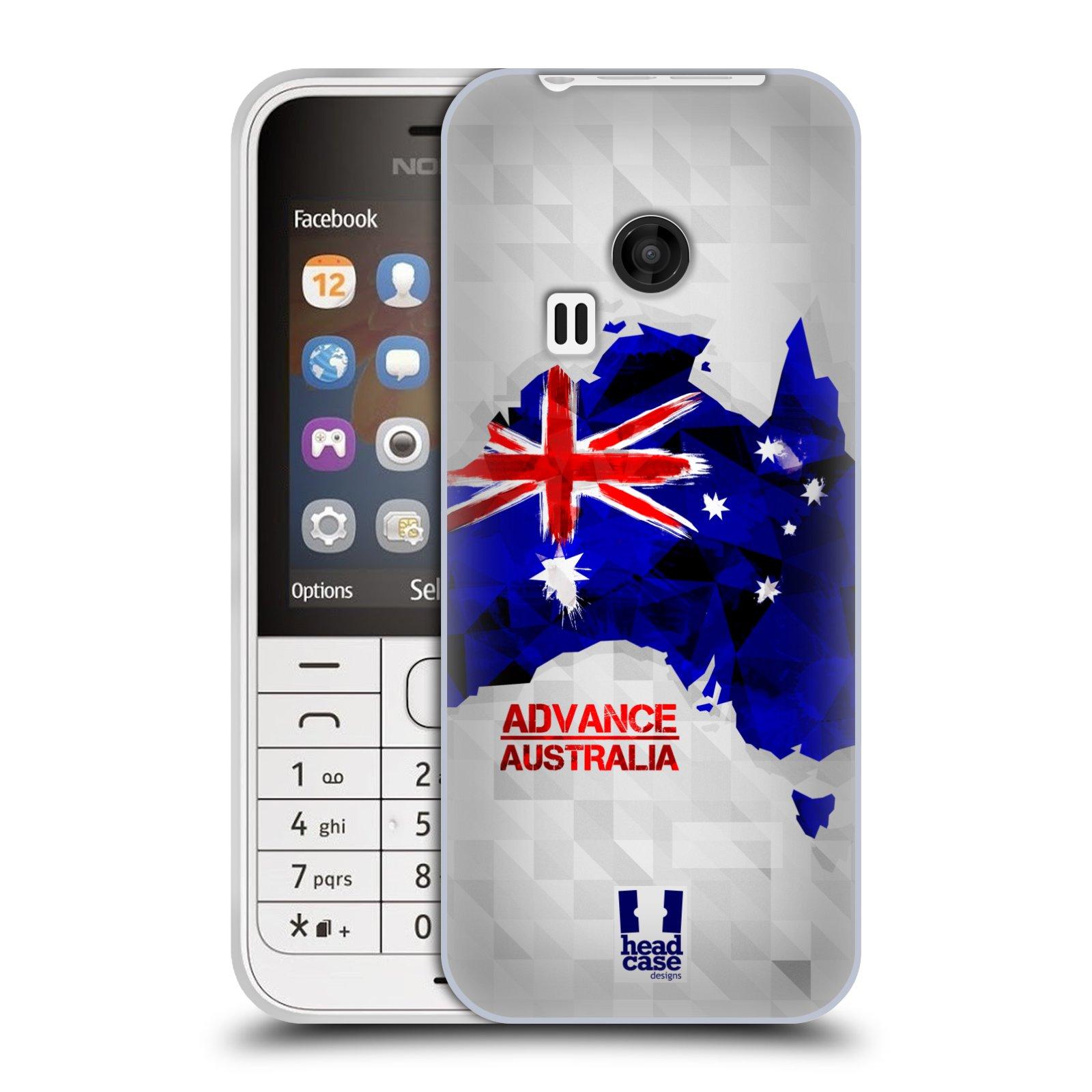 Silikonové pouzdro na mobil Nokia 220 HEAD CASE GEOMAPA AUSTRÁLIE (Silikonový kryt či obal na mobilní telefon Nokia 220 a 220 Dual SIM)