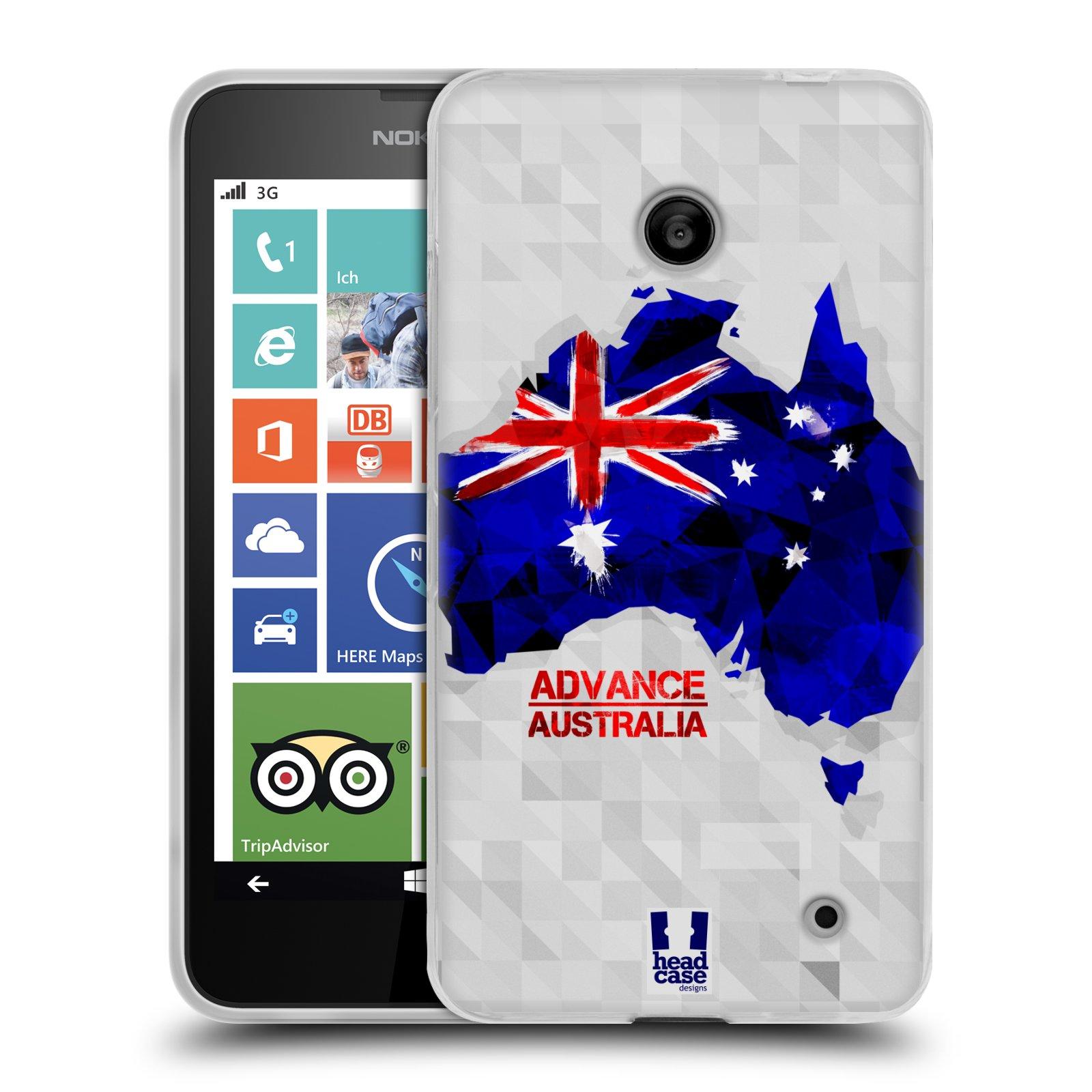 Silikonové pouzdro na mobil Nokia Lumia 630 HEAD CASE GEOMAPA AUSTRÁLIE (Silikonový kryt či obal na mobilní telefon Nokia Lumia 630 a Nokia Lumia 630 Dual SIM)