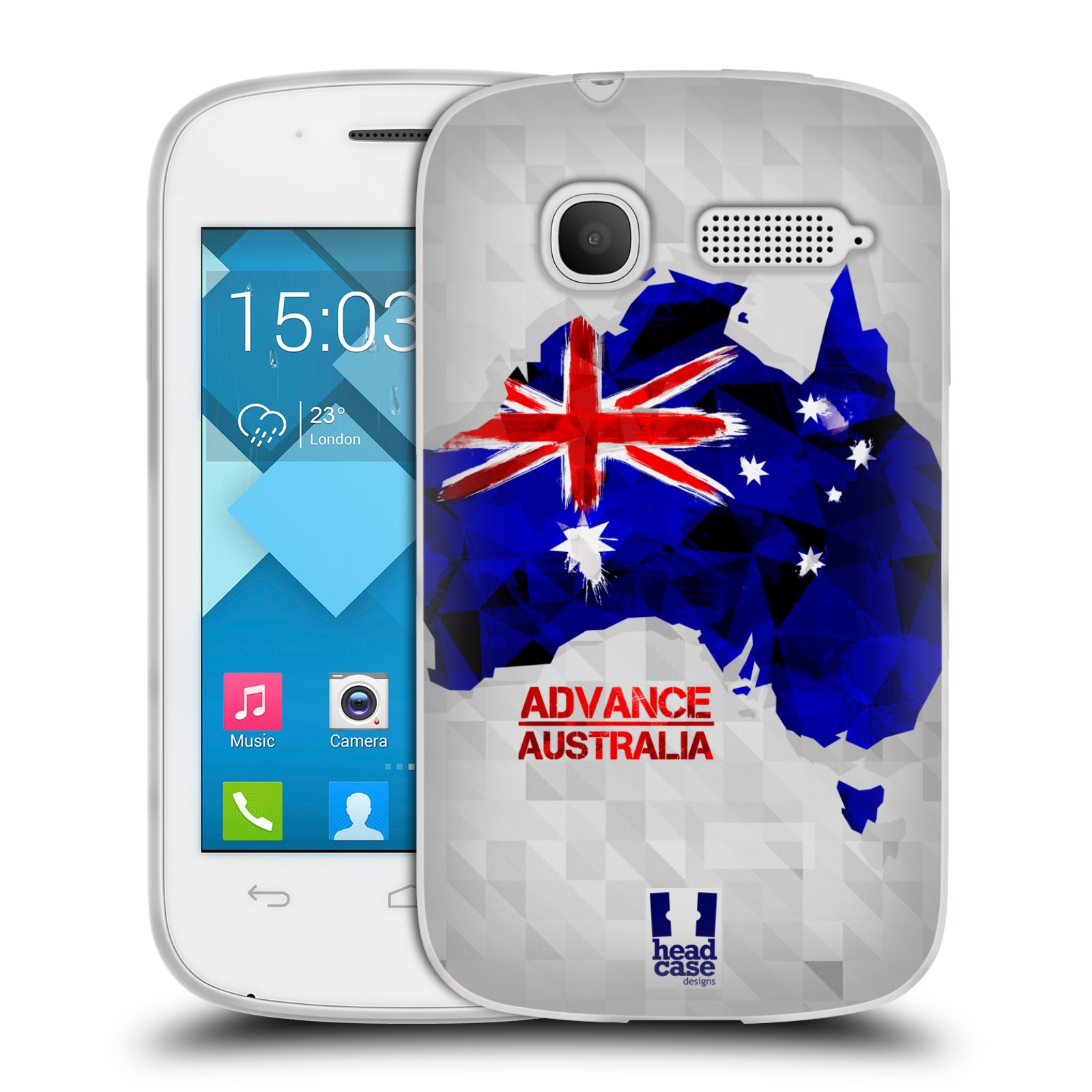Silikonové pouzdro na mobil Alcatel One Touch Pop C1 HEAD CASE GEOMAPA AUSTRÁLIE (Silikonový kryt či obal na mobilní telefon Alcatel OT-4015D POP C1)