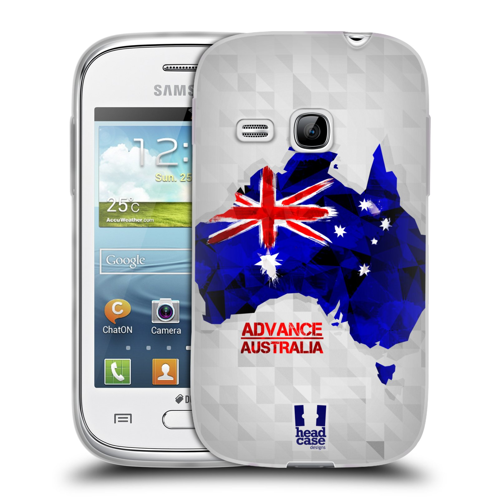 Silikonové pouzdro na mobil Samsung Galaxy Young HEAD CASE GEOMAPA AUSTRÁLIE (Silikonový kryt či obal na mobilní telefon Samsung Galaxy Young GT-S6310)