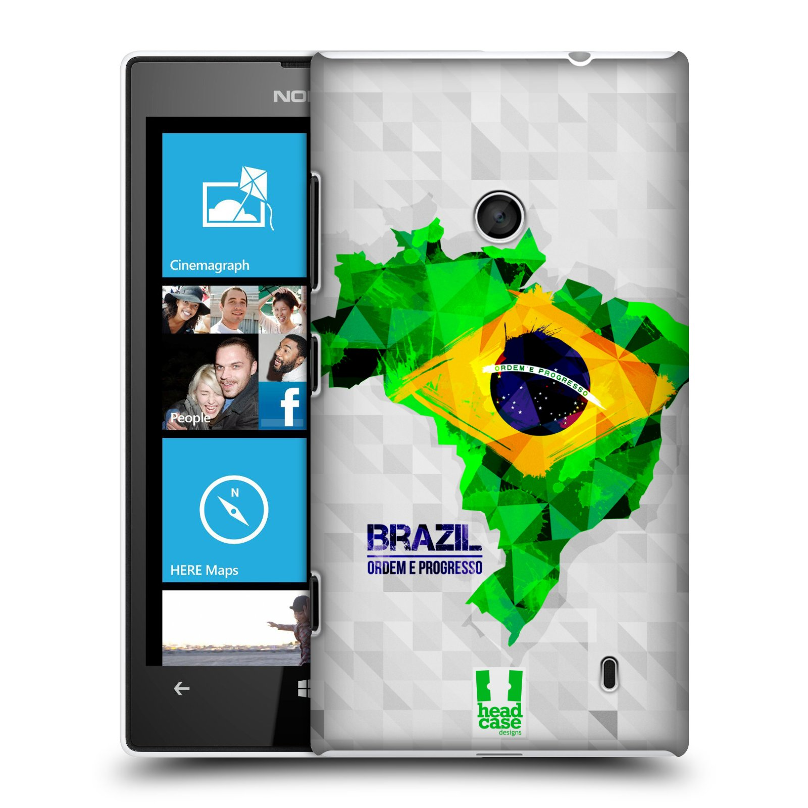 Plastové pouzdro na mobil Nokia Lumia 520 HEAD CASE GEOMAPA BRAZÍLIE (Kryt či obal na mobilní telefon Nokia Lumia 520 )