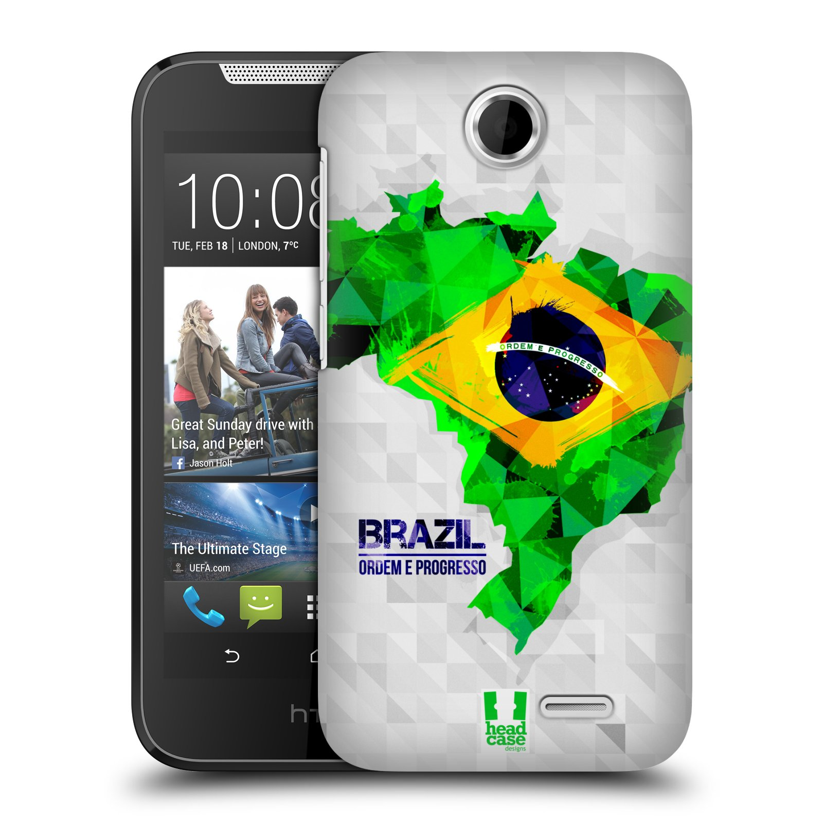 Plastové pouzdro na mobil HTC Desire 310 HEAD CASE GEOMAPA BRAZÍLIE (Kryt či obal na mobilní telefon HTC Desire 310)