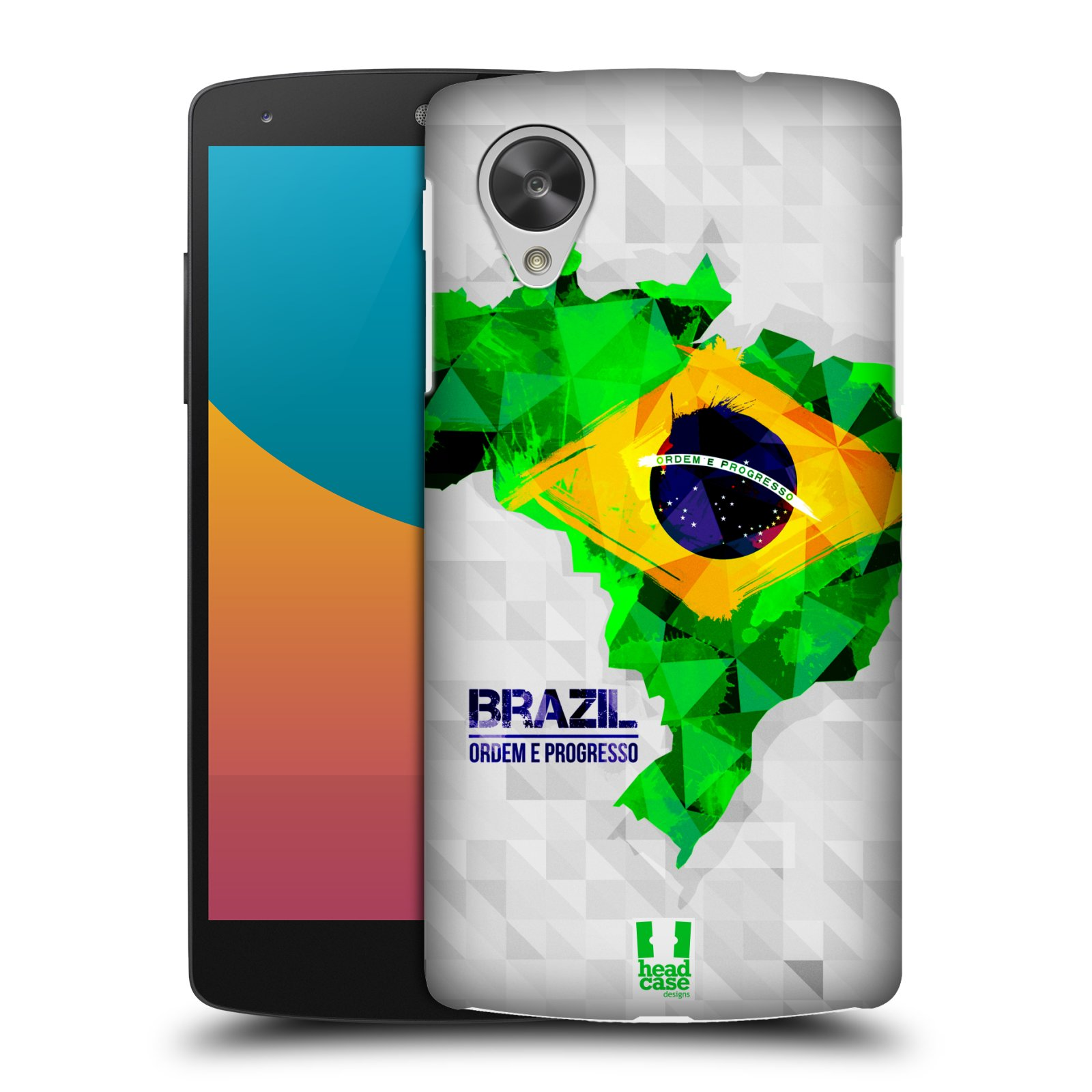 Plastové pouzdro na mobil LG Nexus 5 HEAD CASE GEOMAPA BRAZÍLIE (Kryt či obal na mobilní telefon LG Google Nexus 5 D821)