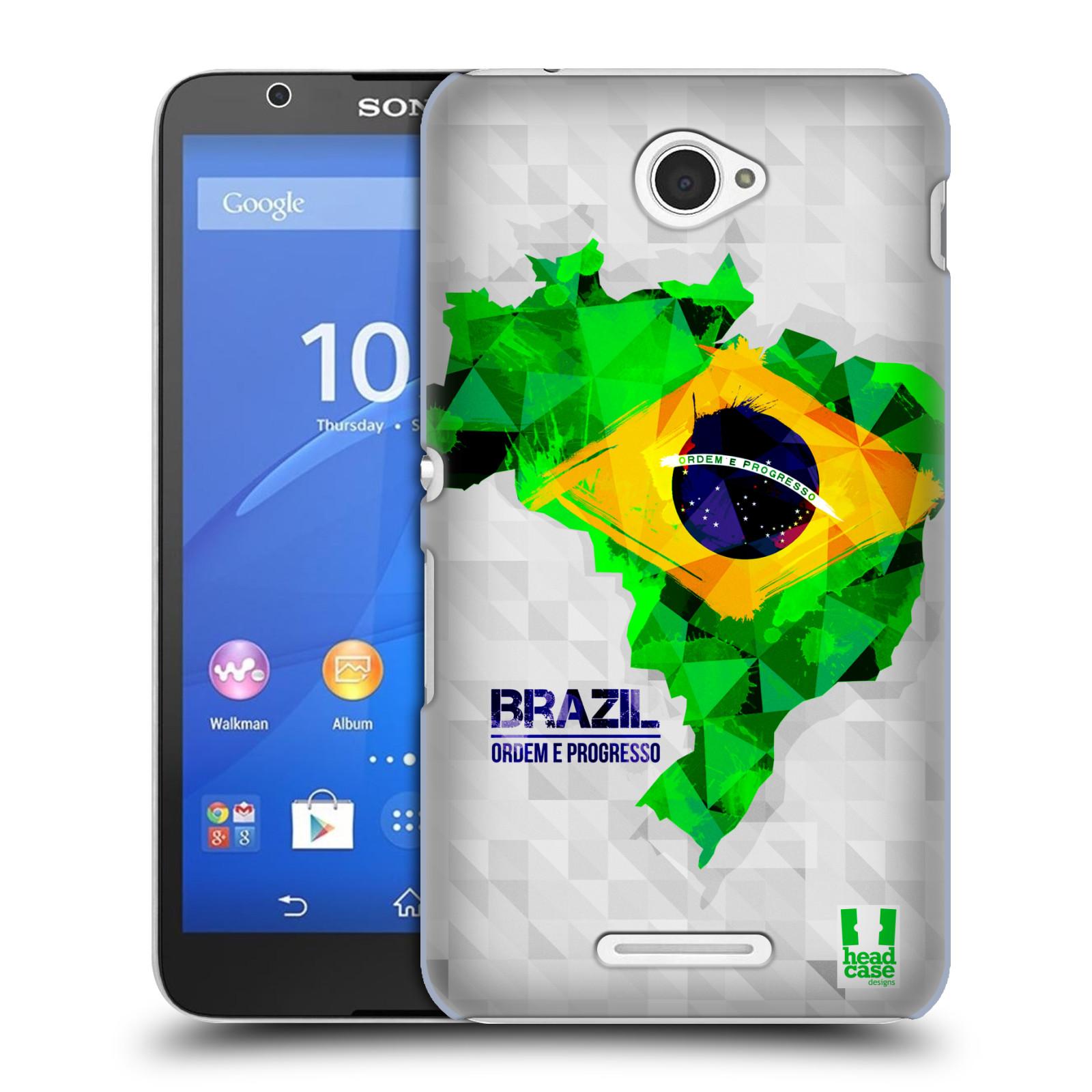 Plastové pouzdro na mobil Sony Xperia E4 E2105 HEAD CASE GEOMAPA BRAZÍLIE (Kryt či obal na mobilní telefon Sony Xperia E4 a E4 Dual SIM)