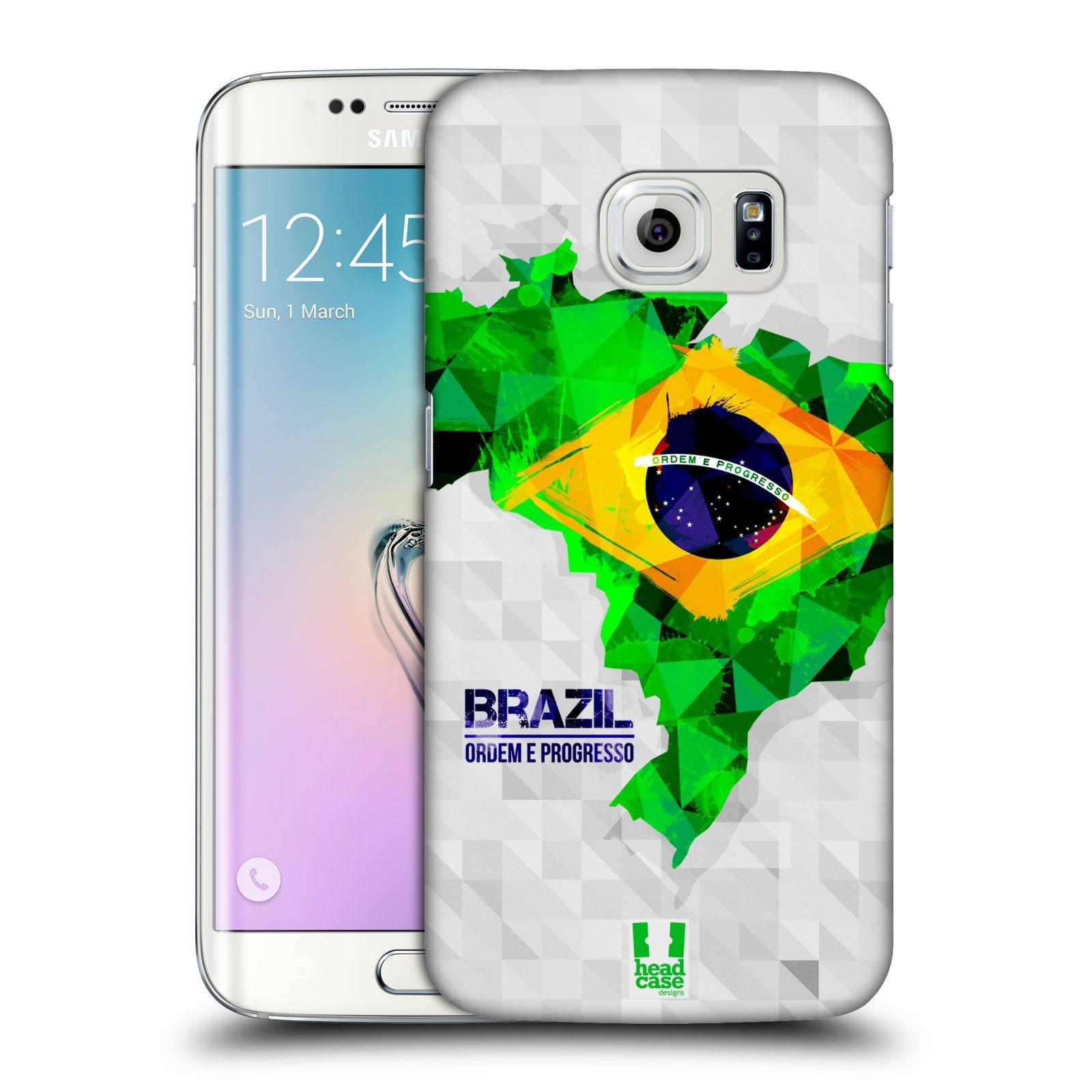 Plastové pouzdro na mobil Samsung Galaxy S6 Edge HEAD CASE GEOMAPA BRAZÍLIE (Kryt či obal na mobilní telefon Samsung Galaxy S6 Edge SM-G925F)
