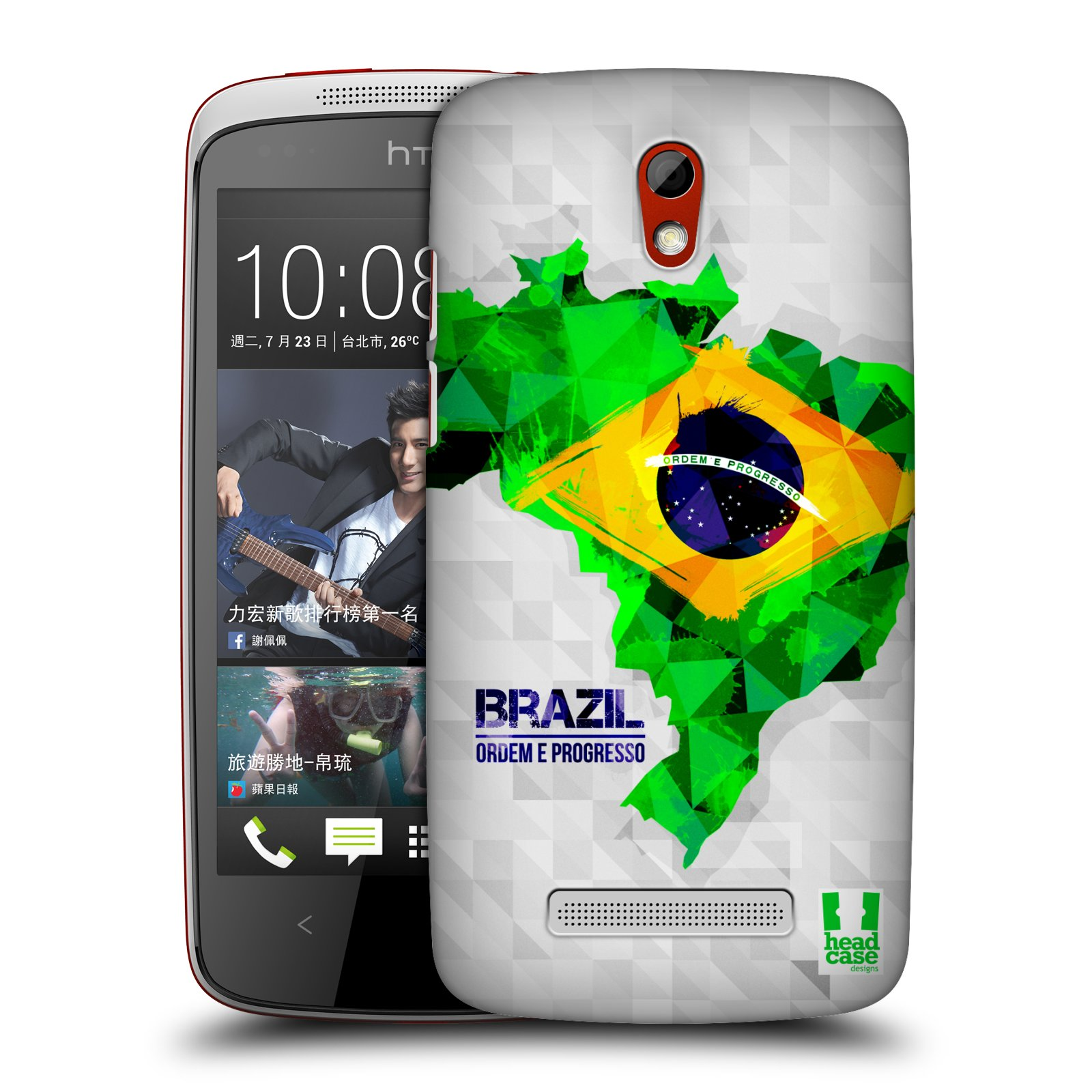 Plastové pouzdro na mobil HTC Desire 500 HEAD CASE GEOMAPA BRAZÍLIE (Kryt či obal na mobilní telefon HTC Desire 500)