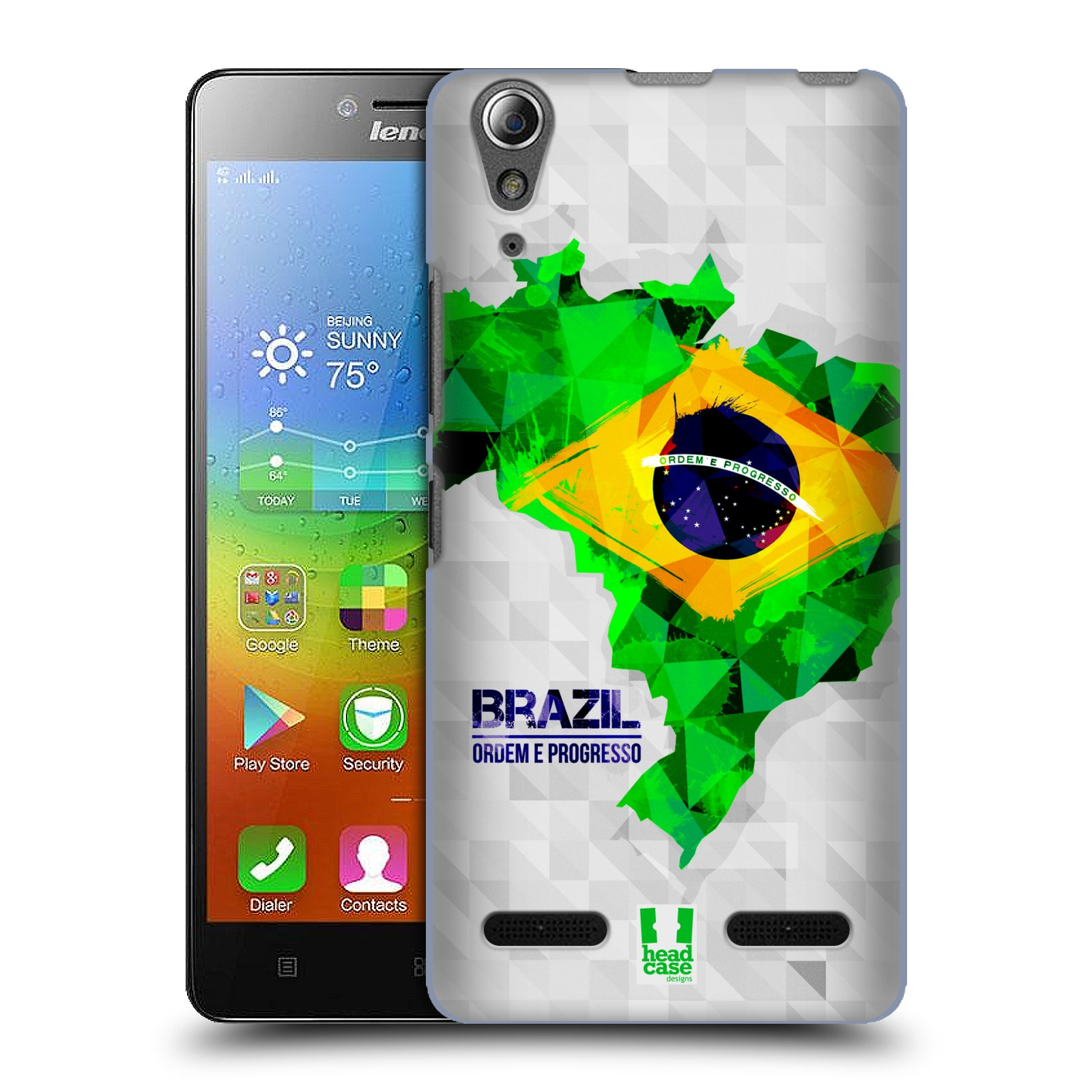 Plastové pouzdro na mobil Lenovo A6000 HEAD CASE GEOMAPA BRAZÍLIE (Kryt či obal na mobilní telefon Lenovo A6000 / A6000 Plus)