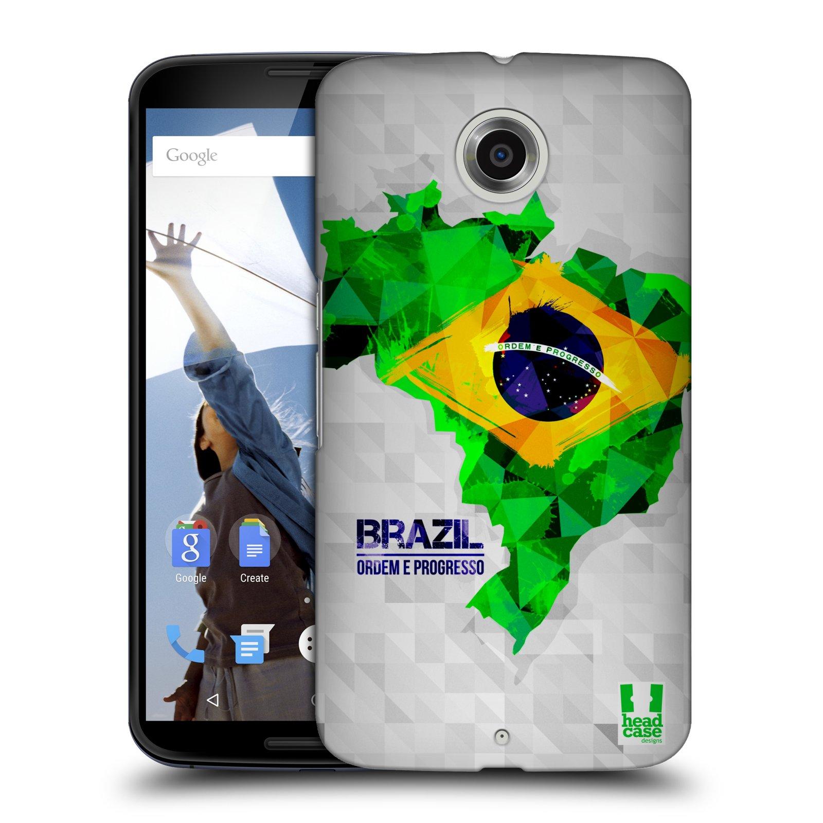 Plastové pouzdro na mobil Motorola Nexus 6 HEAD CASE GEOMAPA BRAZÍLIE (Kryt či obal na mobilní telefon Motorola Nexus 6)