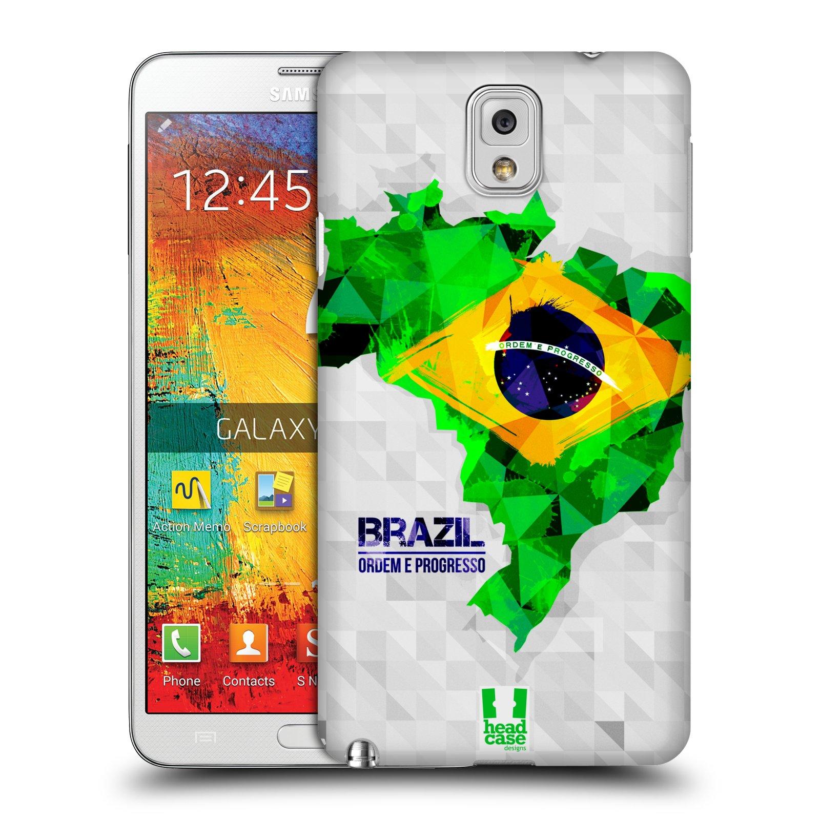 Plastové pouzdro na mobil Samsung Galaxy Note 3 HEAD CASE GEOMAPA BRAZÍLIE (Kryt či obal na mobilní telefon Samsung Galaxy Note 3 SM-N9005)